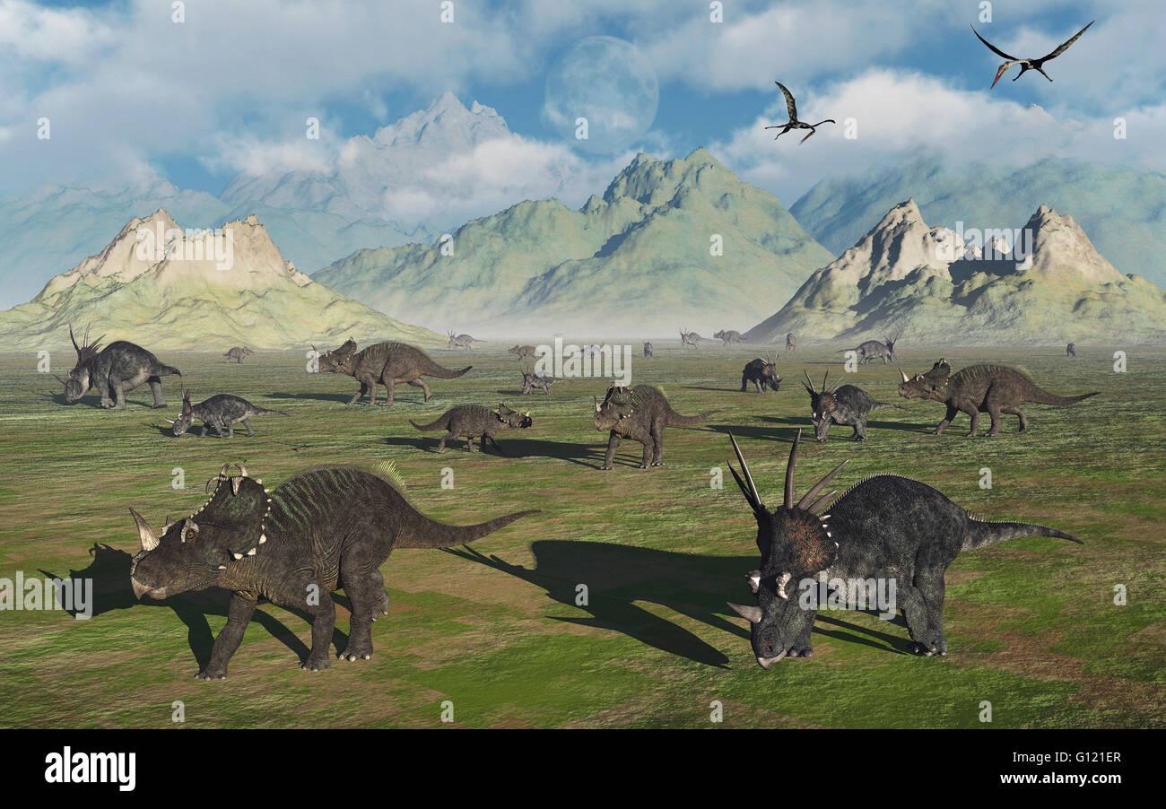 A Mixed Herd Of Centrosaurs & Styracosaurus Dinosaurs. Stock Photo