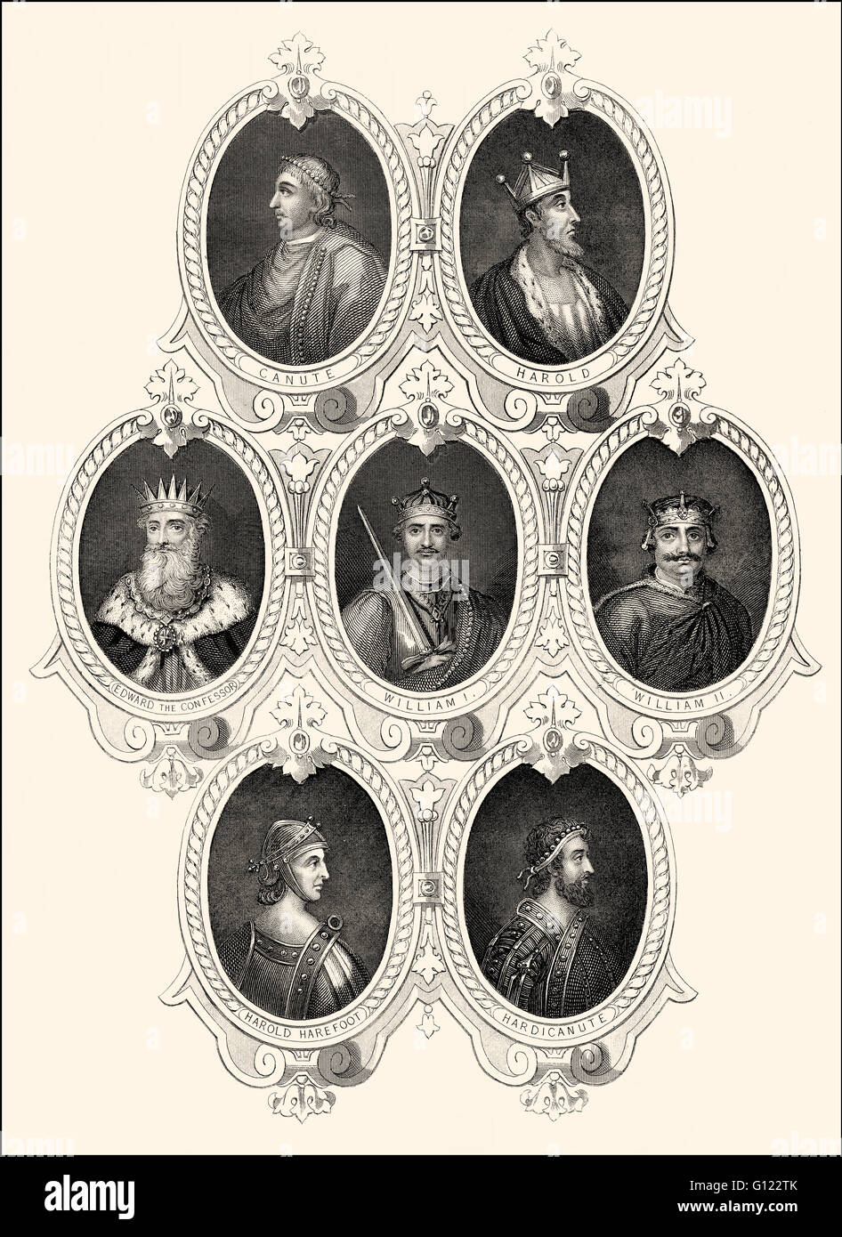 Kings of England, 10th and 11th century - Stock Image
