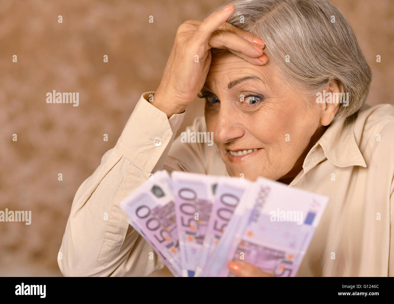 Portrait of aged woman Stock Photo