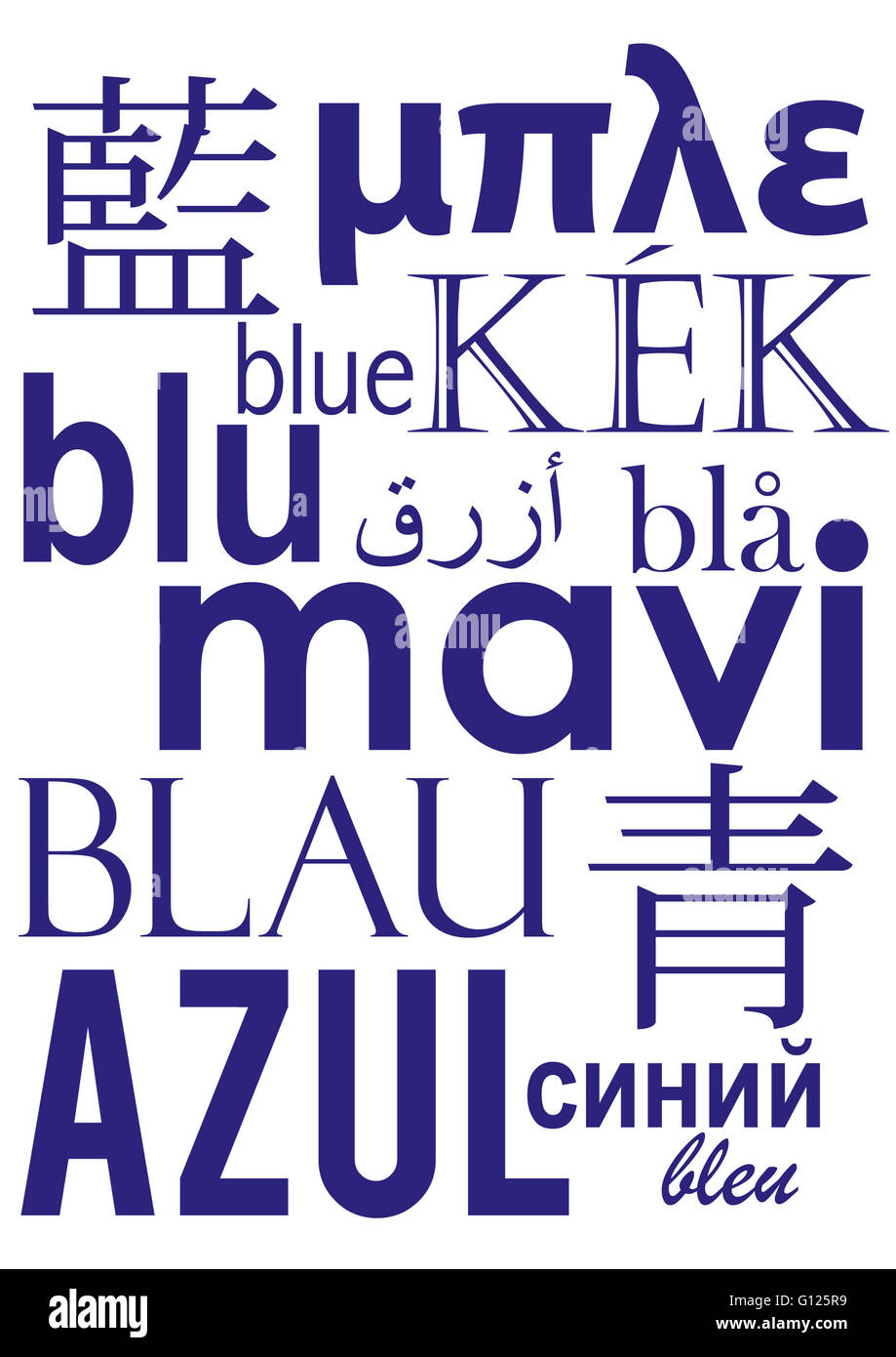 Blue written in different languages - Stock Image