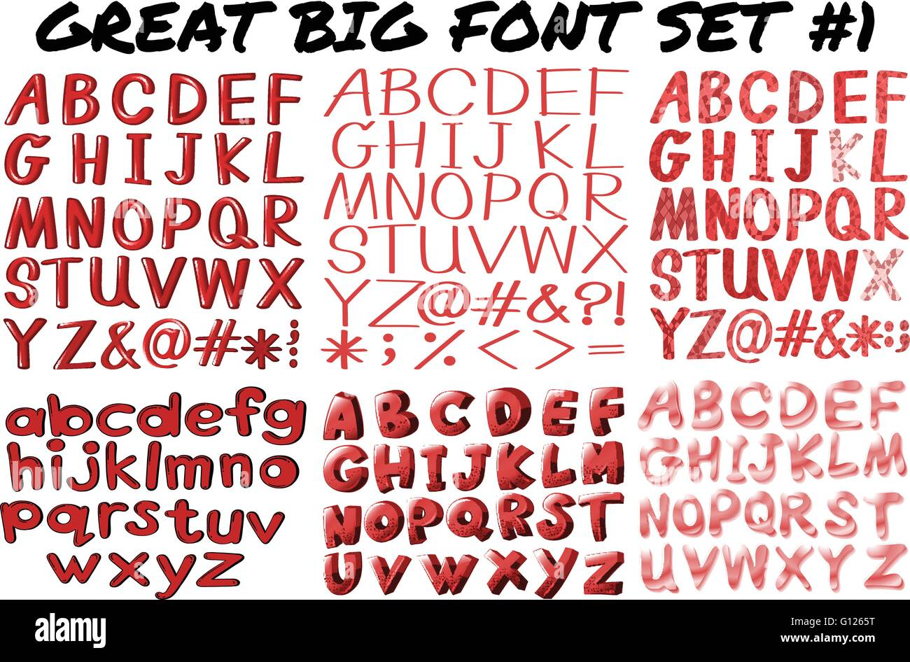 English fonts in red bold illustration - Stock Vector