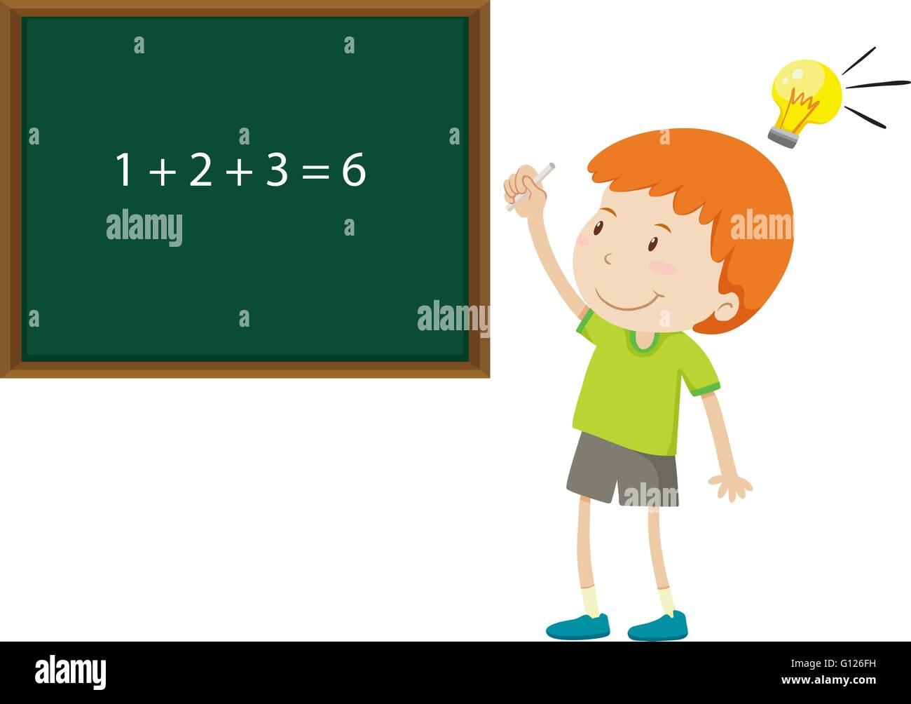 Boy solving math problem illustration Stock Vector Art ...