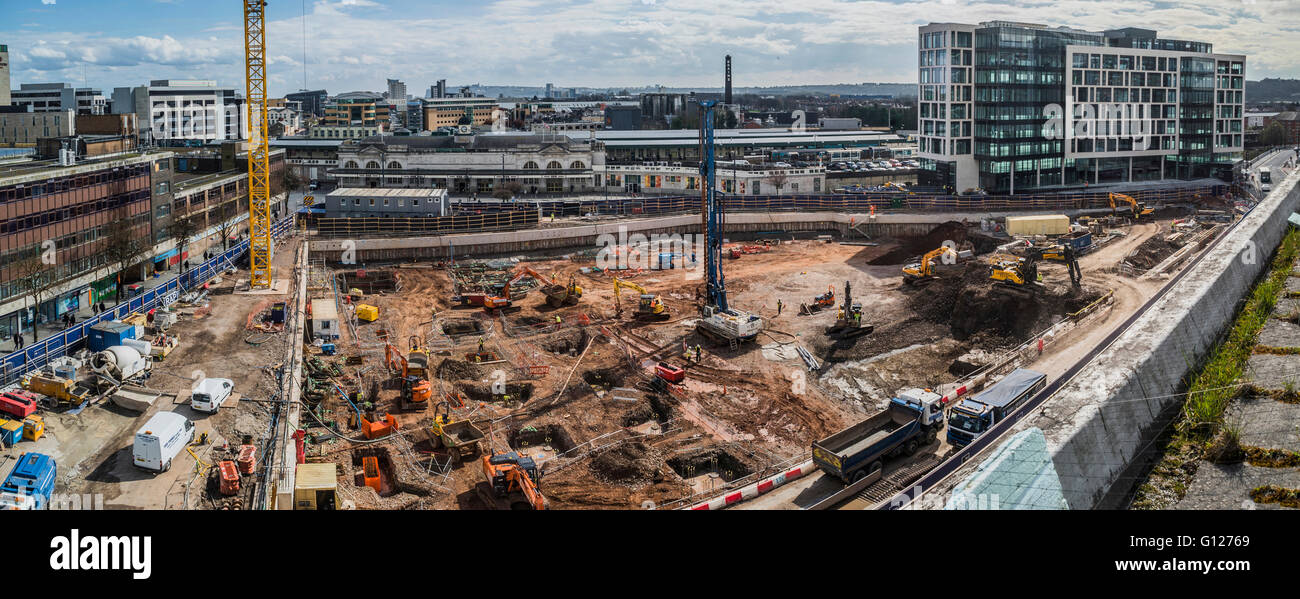 Panoramic image of Foster+Partners BBC Cymru/Wales headquarters on Cardiff's Central Square development PHILLIP - Stock Image