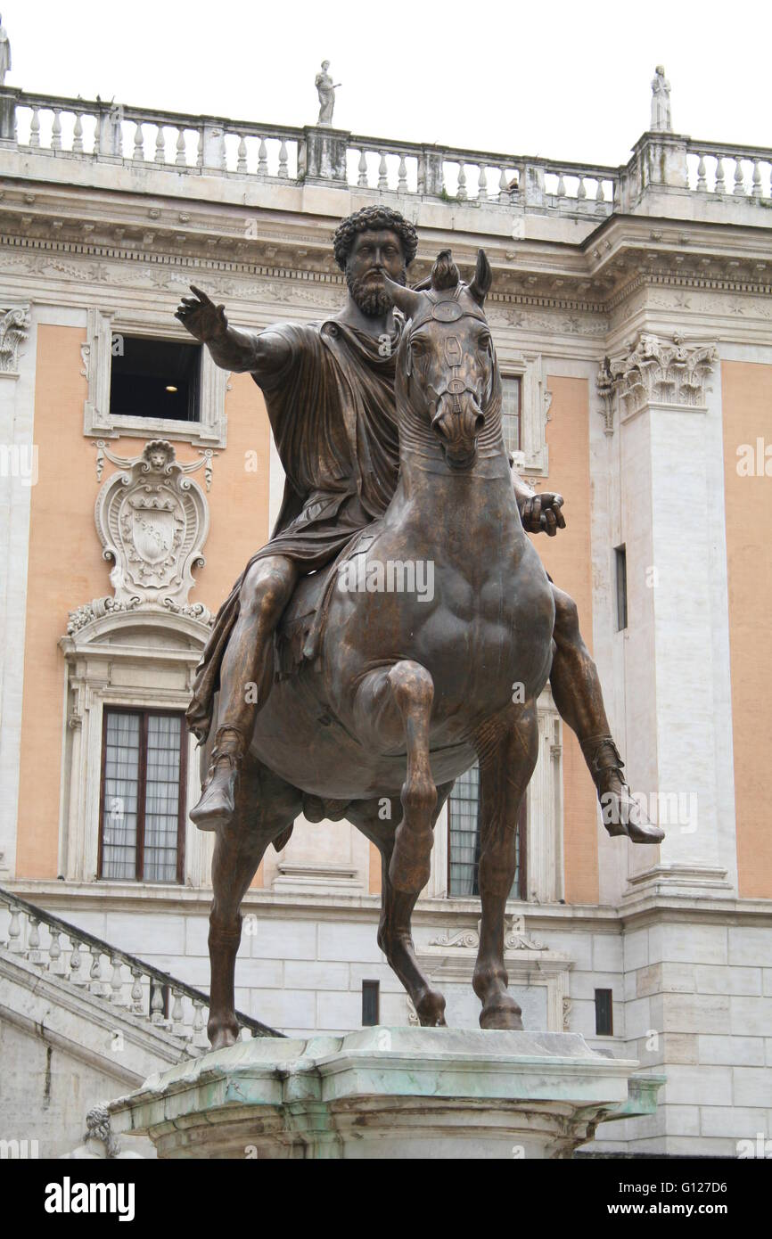 Statue of horse and rider; Rome, Italy - Stock Image