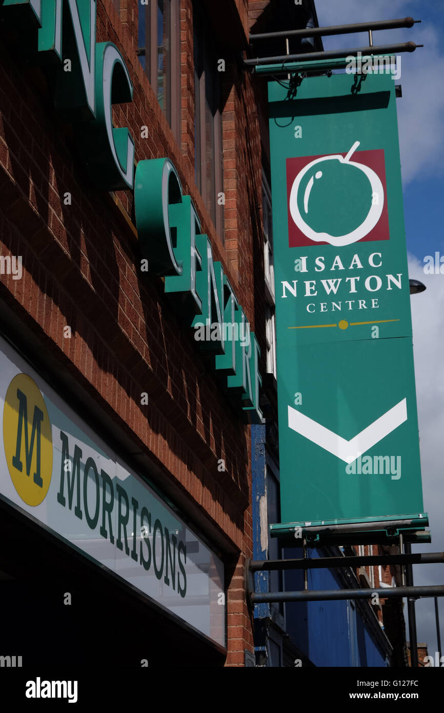 Isaac Newton Shopping Centre, advertising banner, High Street, Grantham, Lincolnshire, England UK - Stock Image