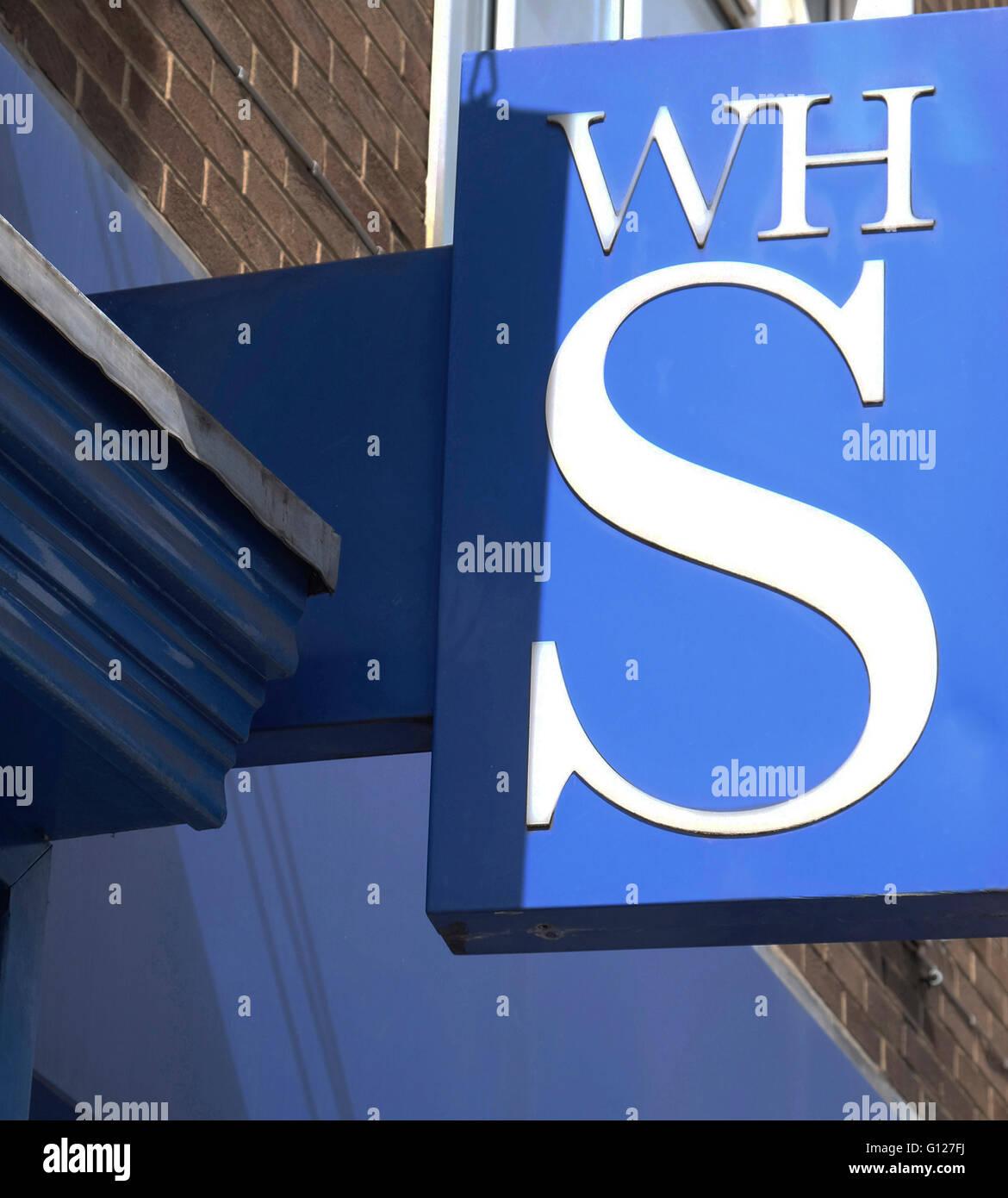 WHSmiths wall logo, High Street, Grantham, Lincolnshire - Stock Image