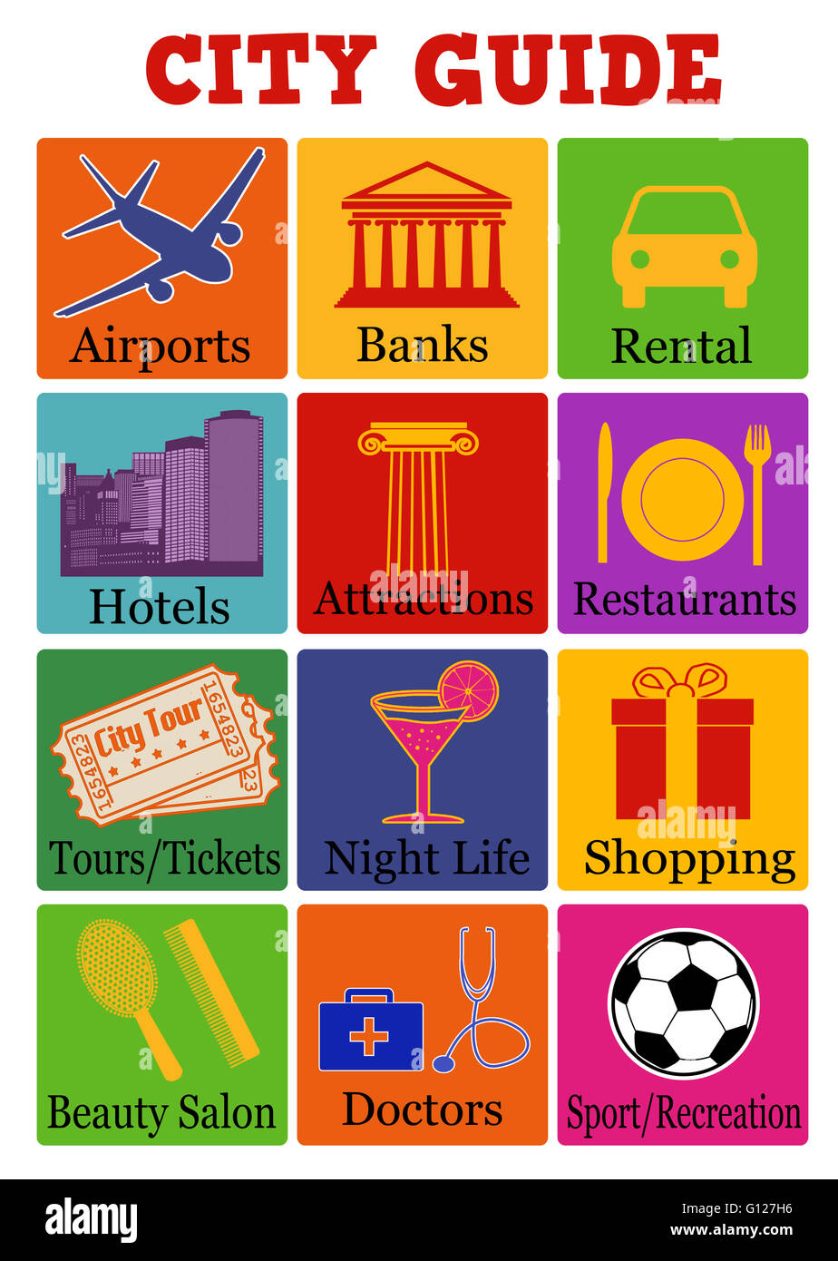 City travel guide icons on color background, vector illustration - Stock Image