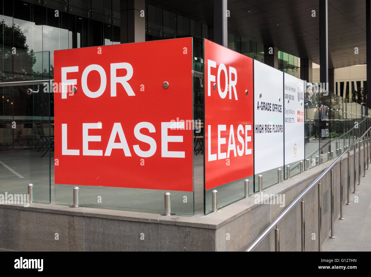 Office space for lease signage post mining boom, a common sign along