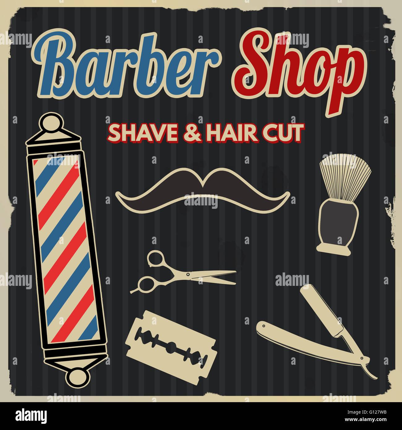 Postereck-Poster 0908-Retro Poster Barbershop Barber Style Men Vintage