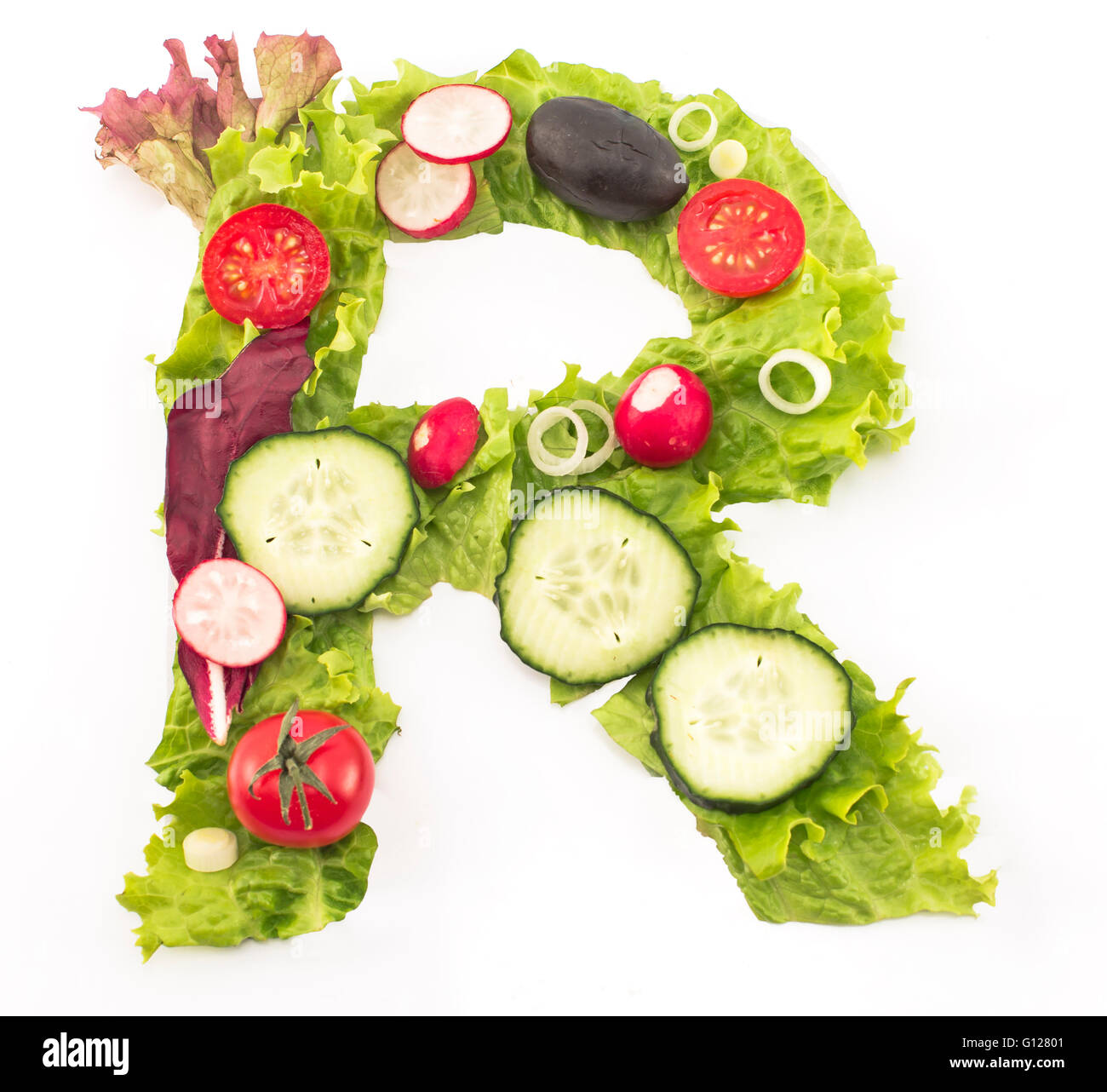 letter made salad stock photos letter made salad stock images alamy