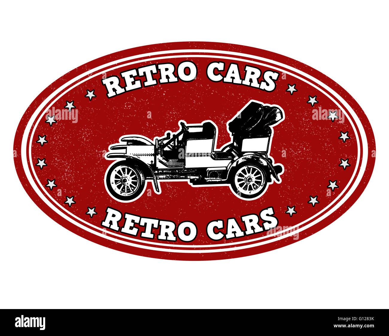 Retro cars grunge rubber stamp on white, vector illustration Stock Photo