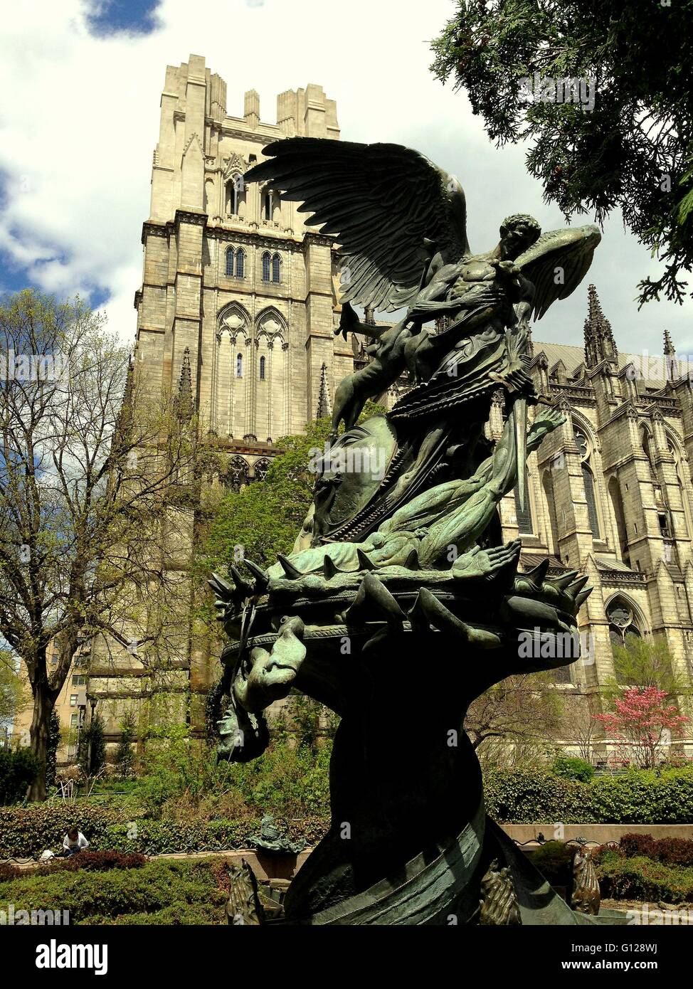 New York City:  Peace Fountain at the Cathedral Church of St. John the Divine gardens on Amsterdam Avenue Stock Photo