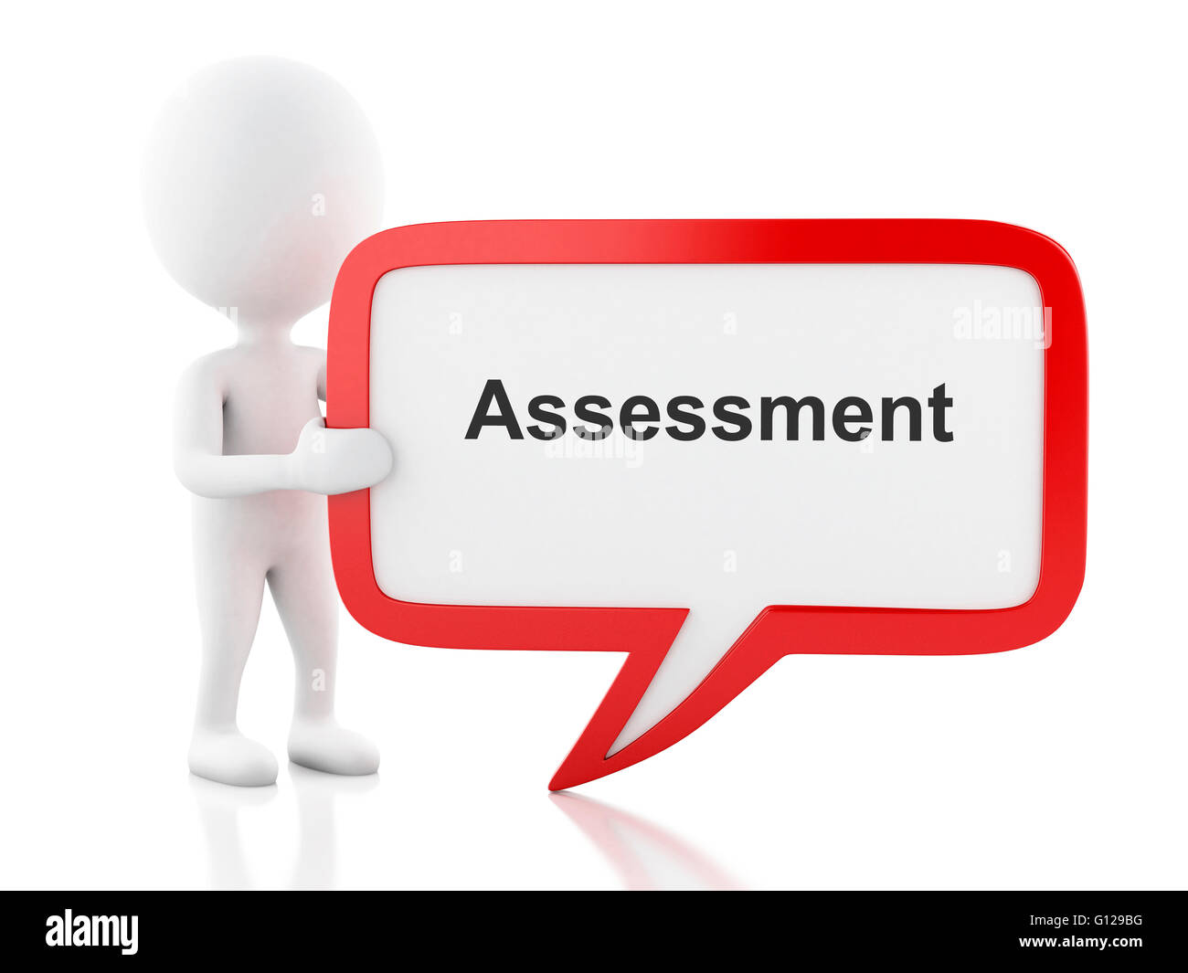 3d renderer image. White people with speech bubble that says assessment. Business concept. Isolated white background. - Stock Image