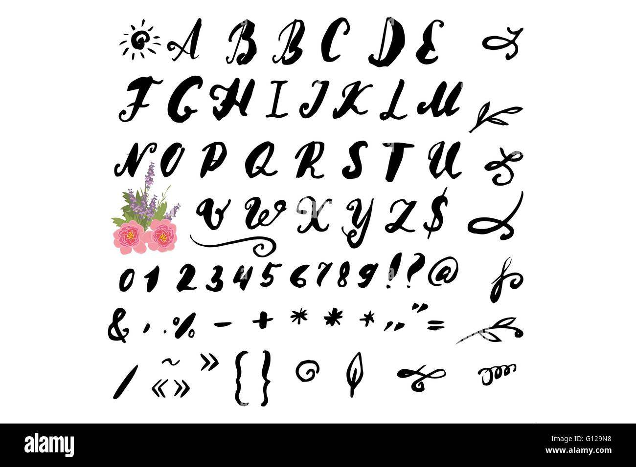 Vector Illustration Brush Style Of Calligraphy Alphabet Lowercase Letters And Numbers