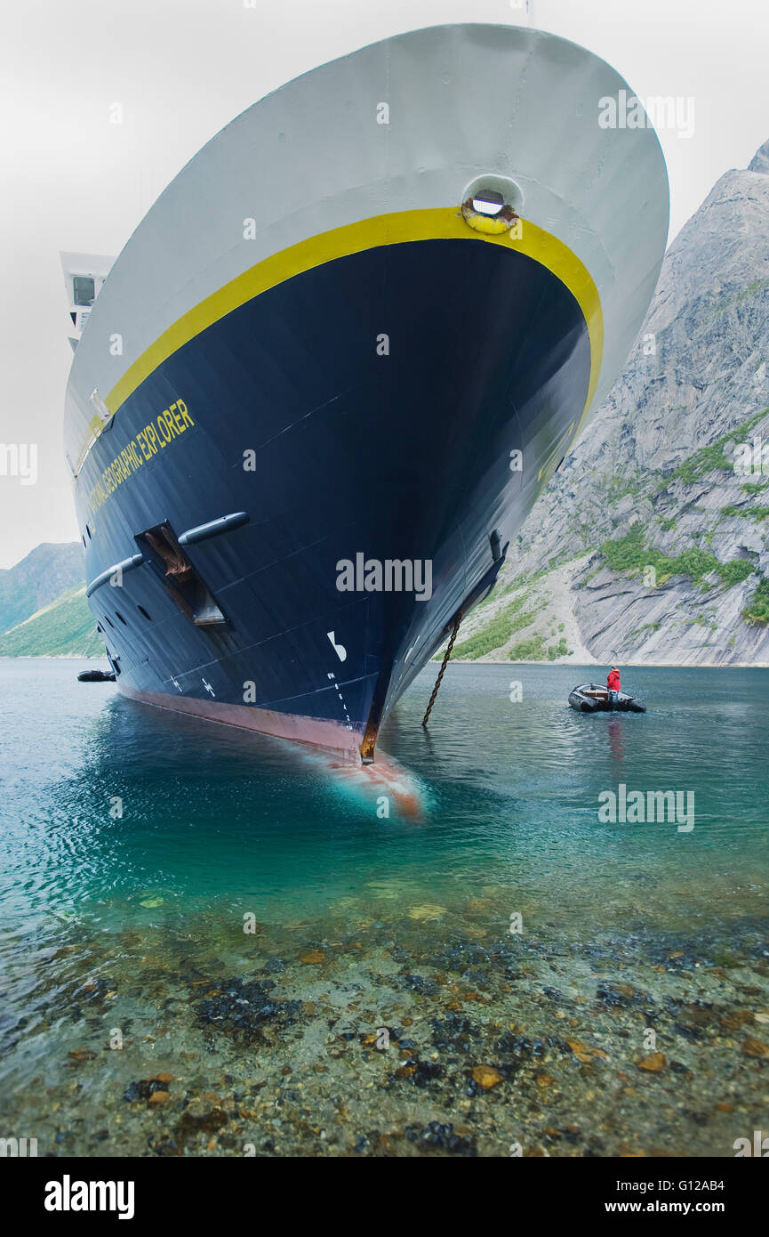 Anchored close to shore, National Geographic Explorer, Nordfjord, Norway - Stock Image