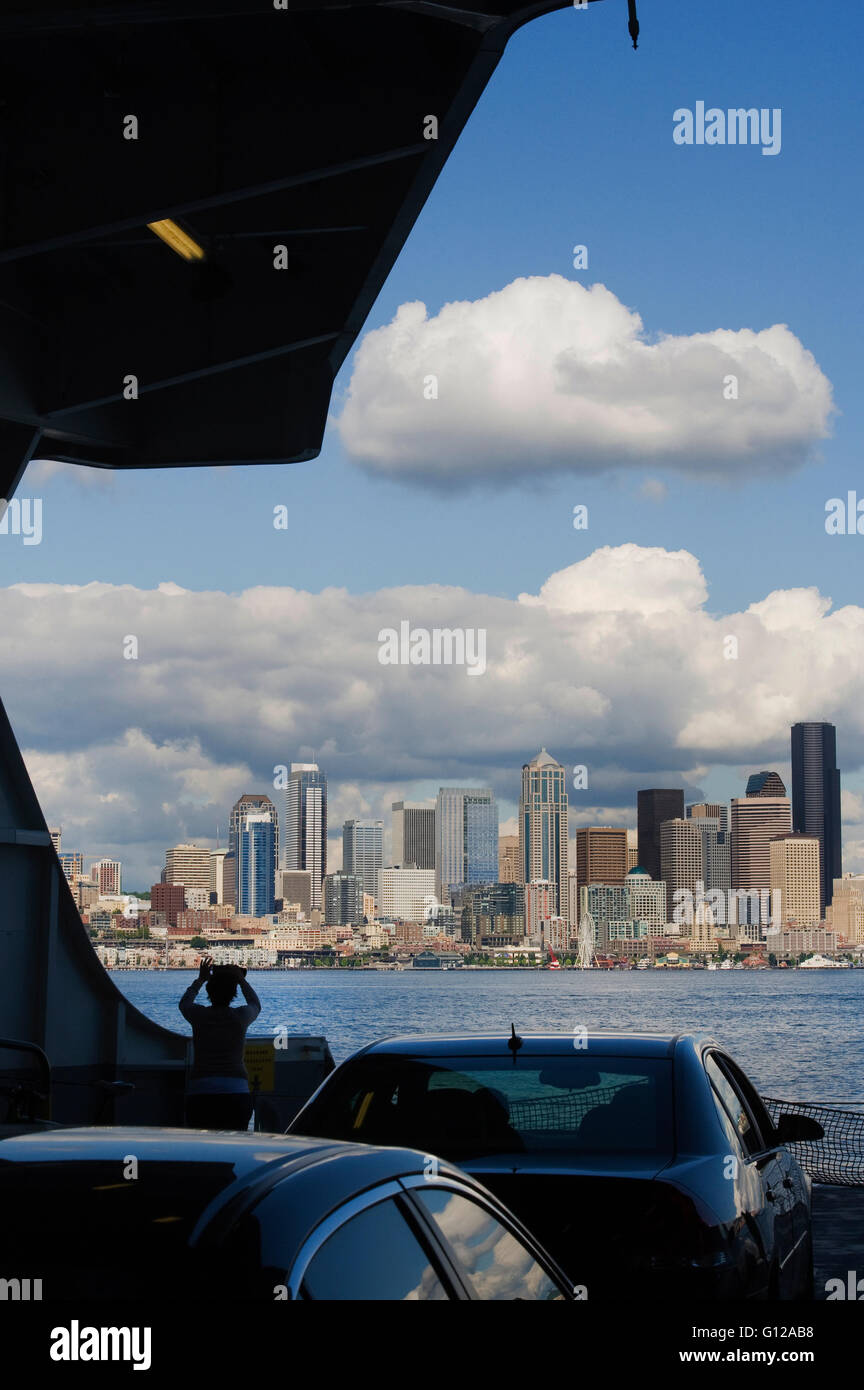 Downtown Seattle from arriving Washington State Ferry, Seattle - Stock Image