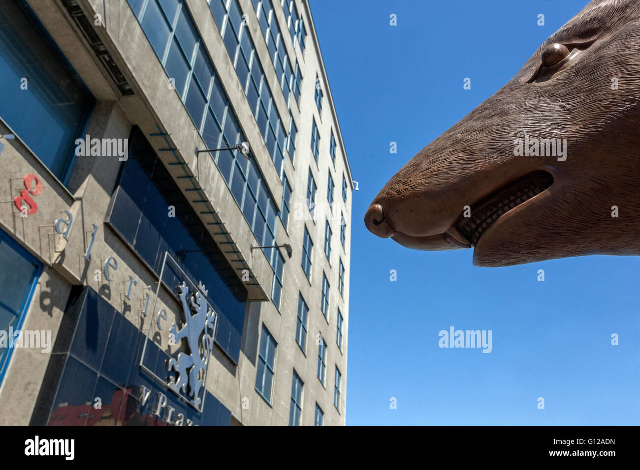 Ai Weiwei art work - Zodiac Heads front of The National Gallery, Holesovice, Prague, Czech Republic, rat - Stock Image