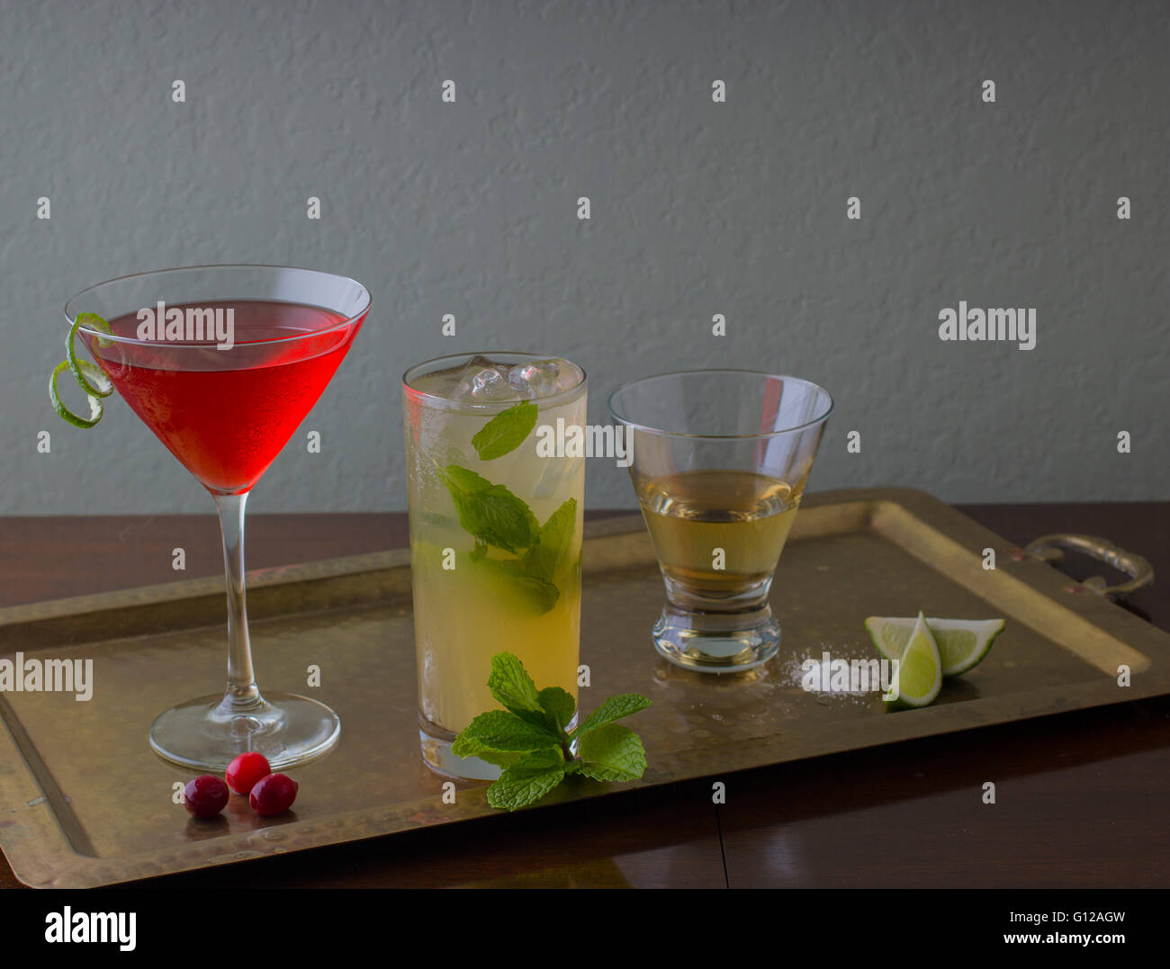 Assortment of Cocktails on Serving Tray - Stock Image