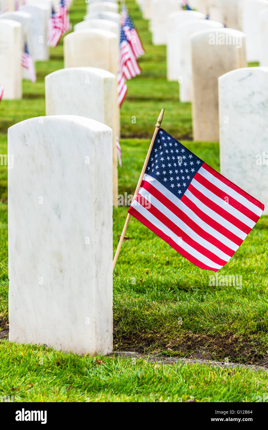 Rows White Granite Military Headstones and American Flags in Military Veterans Cemetery. Vertical. - Stock Image