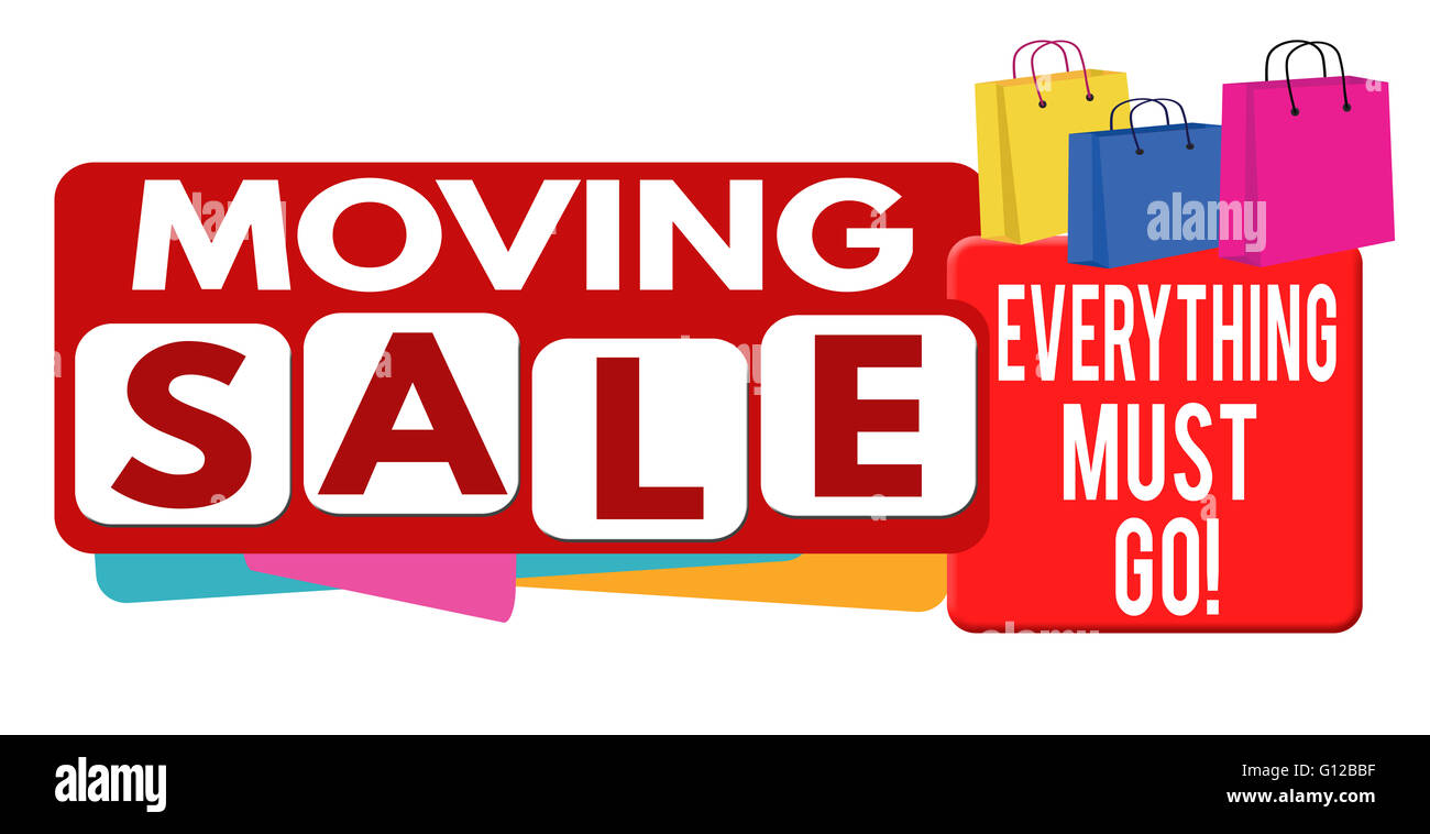 moving sale banner or label for business promotion on white stock