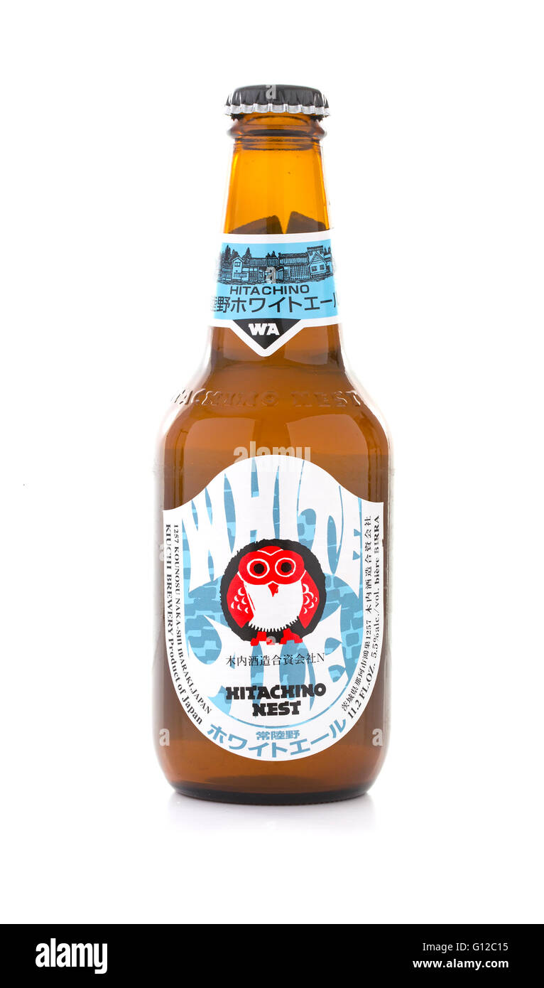 Hitachino Nest Beer on a white background - Stock Image