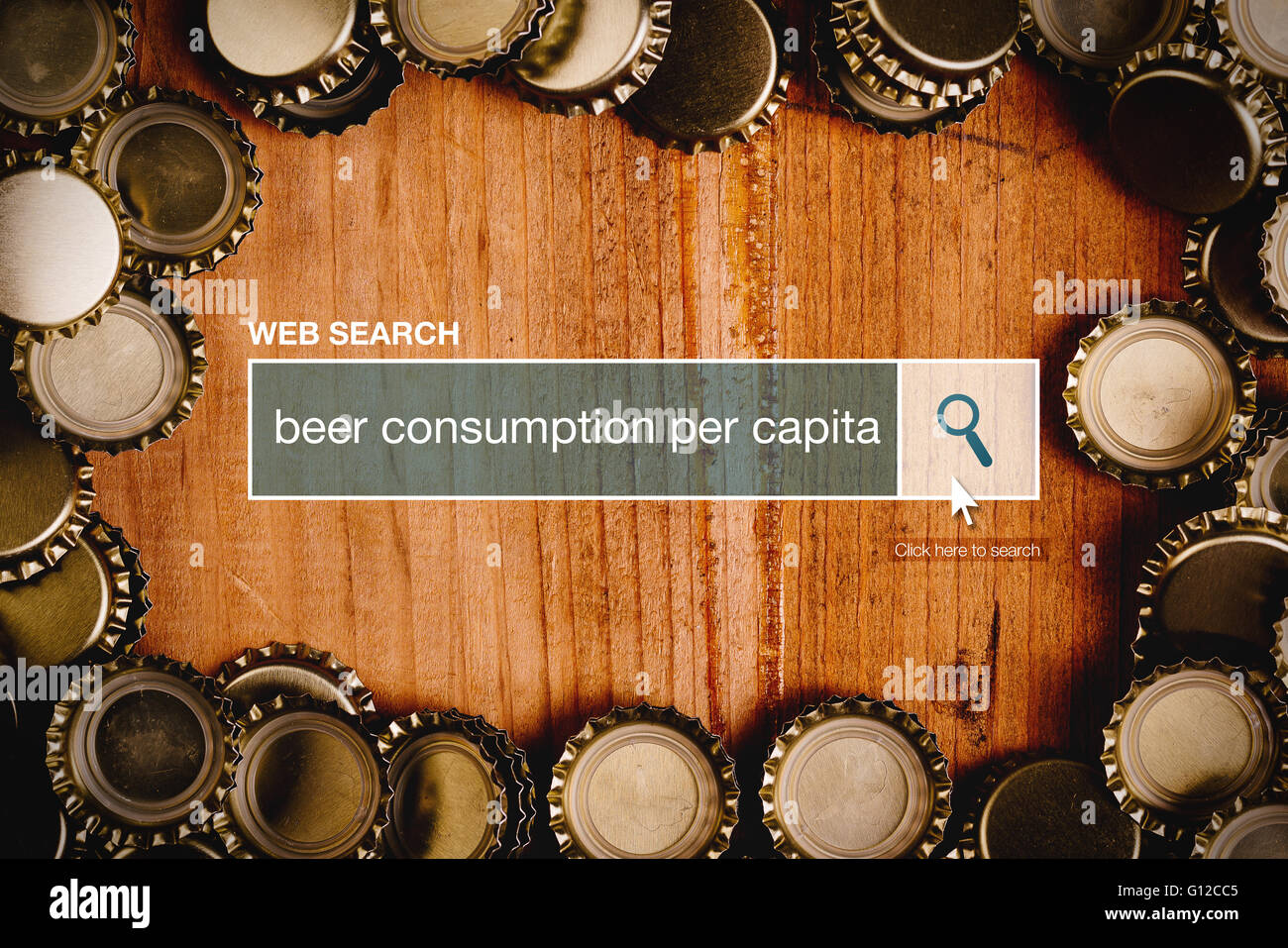 Beer consumption per capita definition in internet glossary - web search bar glossary term - Stock Image