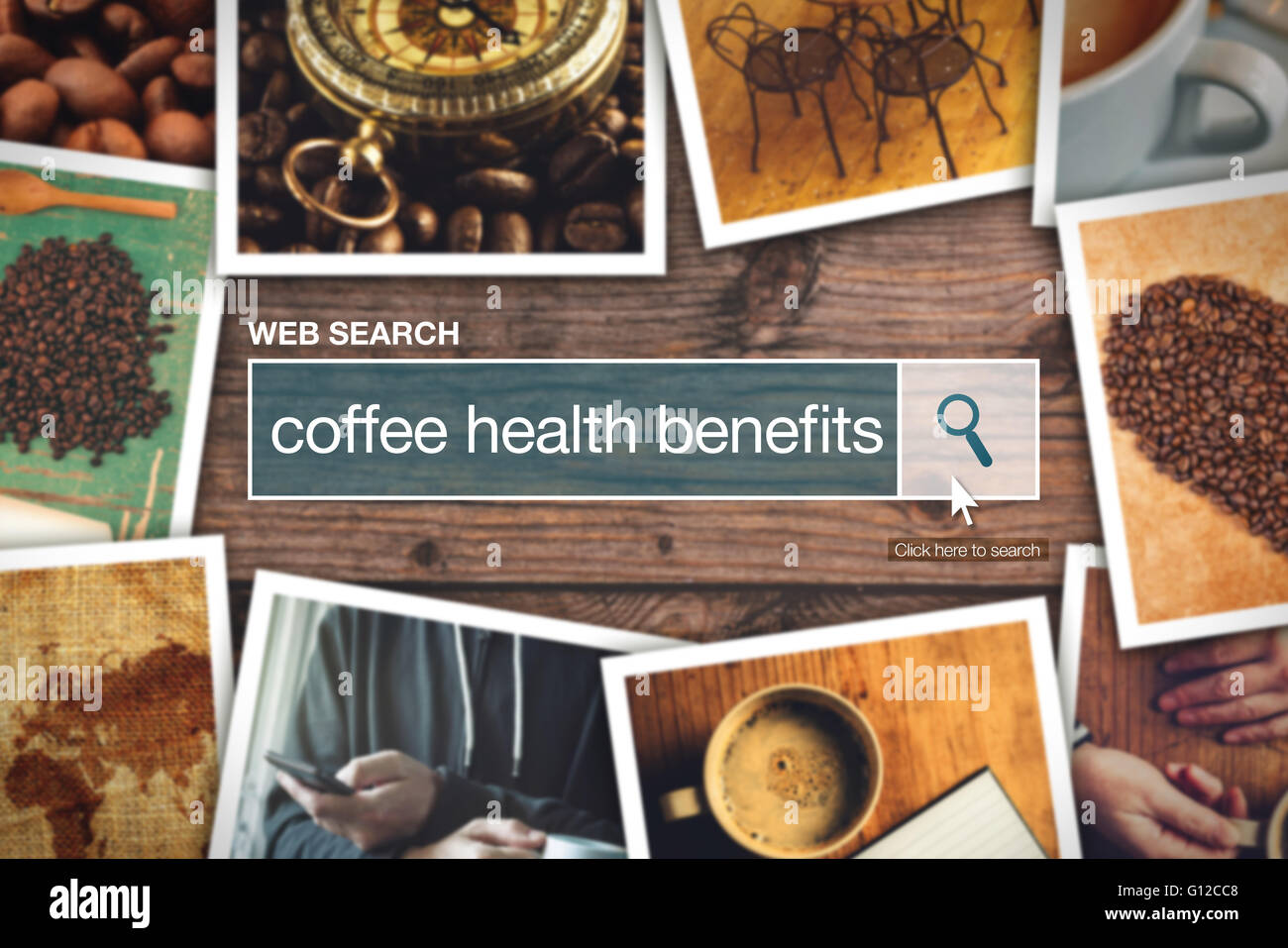 Web search bar glossary term - coffee health benefits definition in internet glossary. - Stock Image
