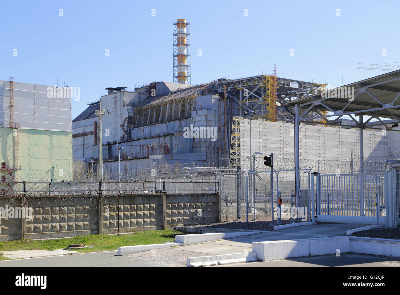 Chernobyl - Nuclear Power Plant - Wrecked Reactor 4... - Stock Image