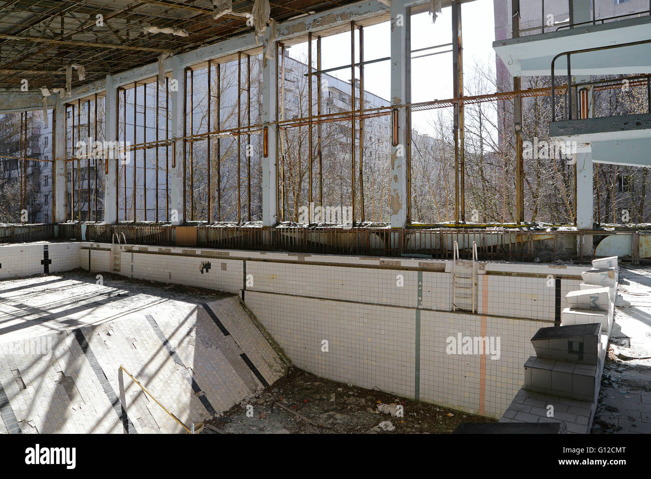The Swimming Hall in Pripyat, Chernobyl - Stock Image