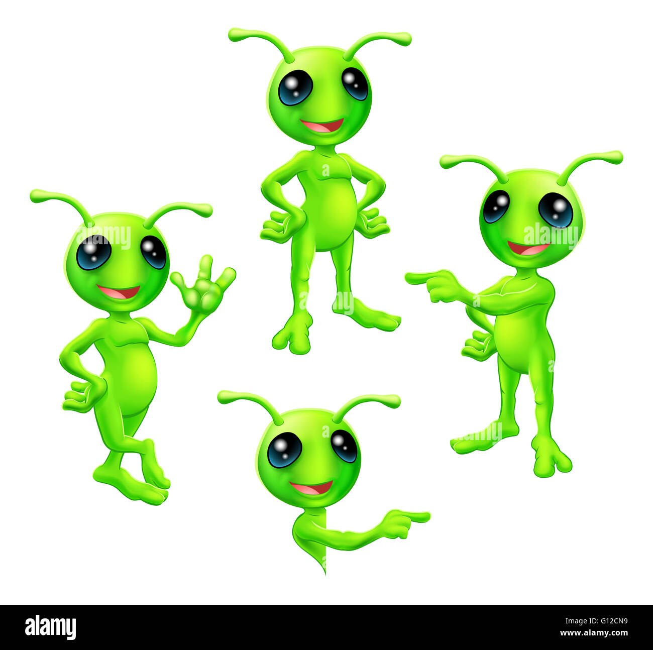 A cute cartoon green alien Martian character with antennae in various poses - Stock Image