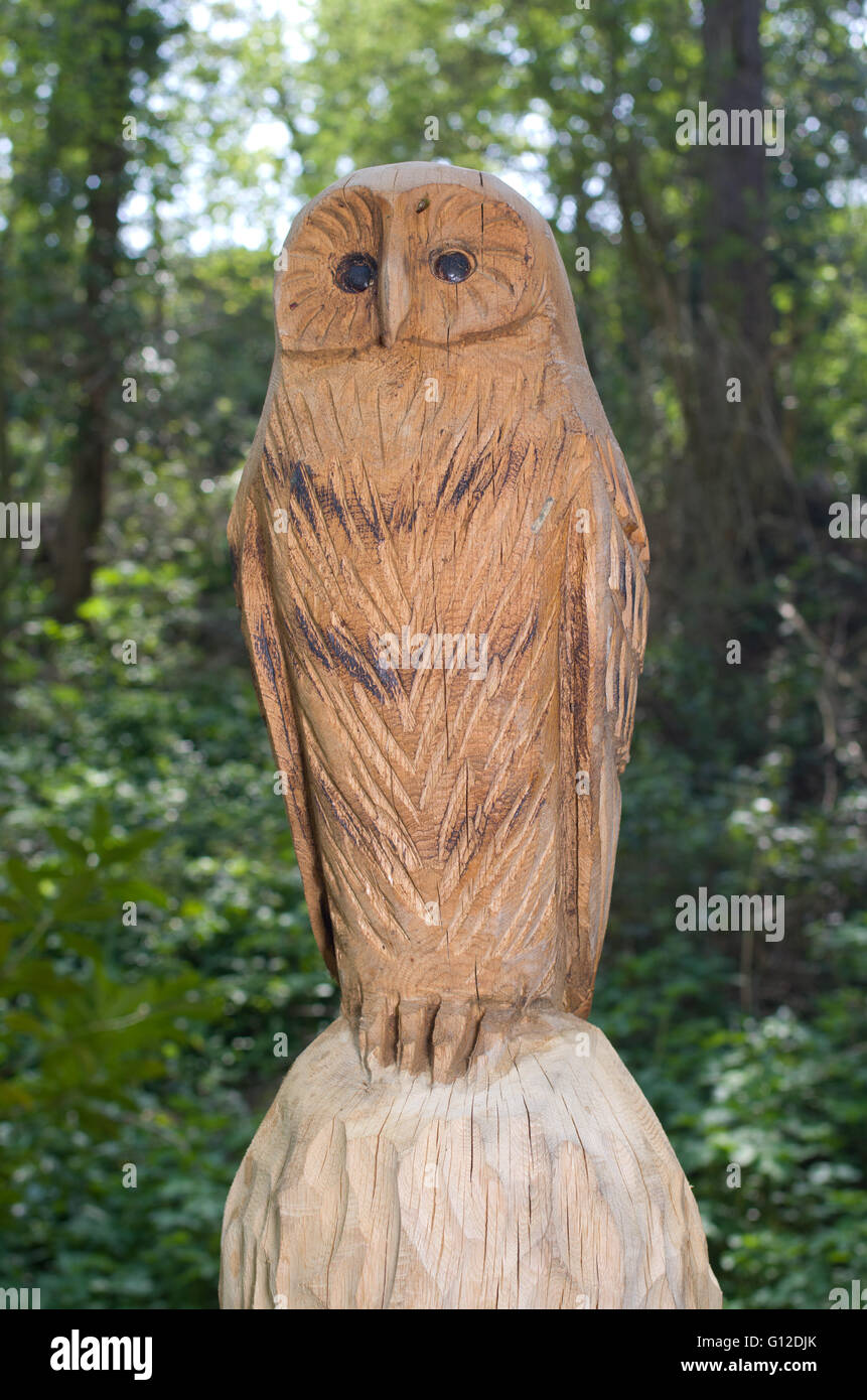 Owl wood carving stock photos