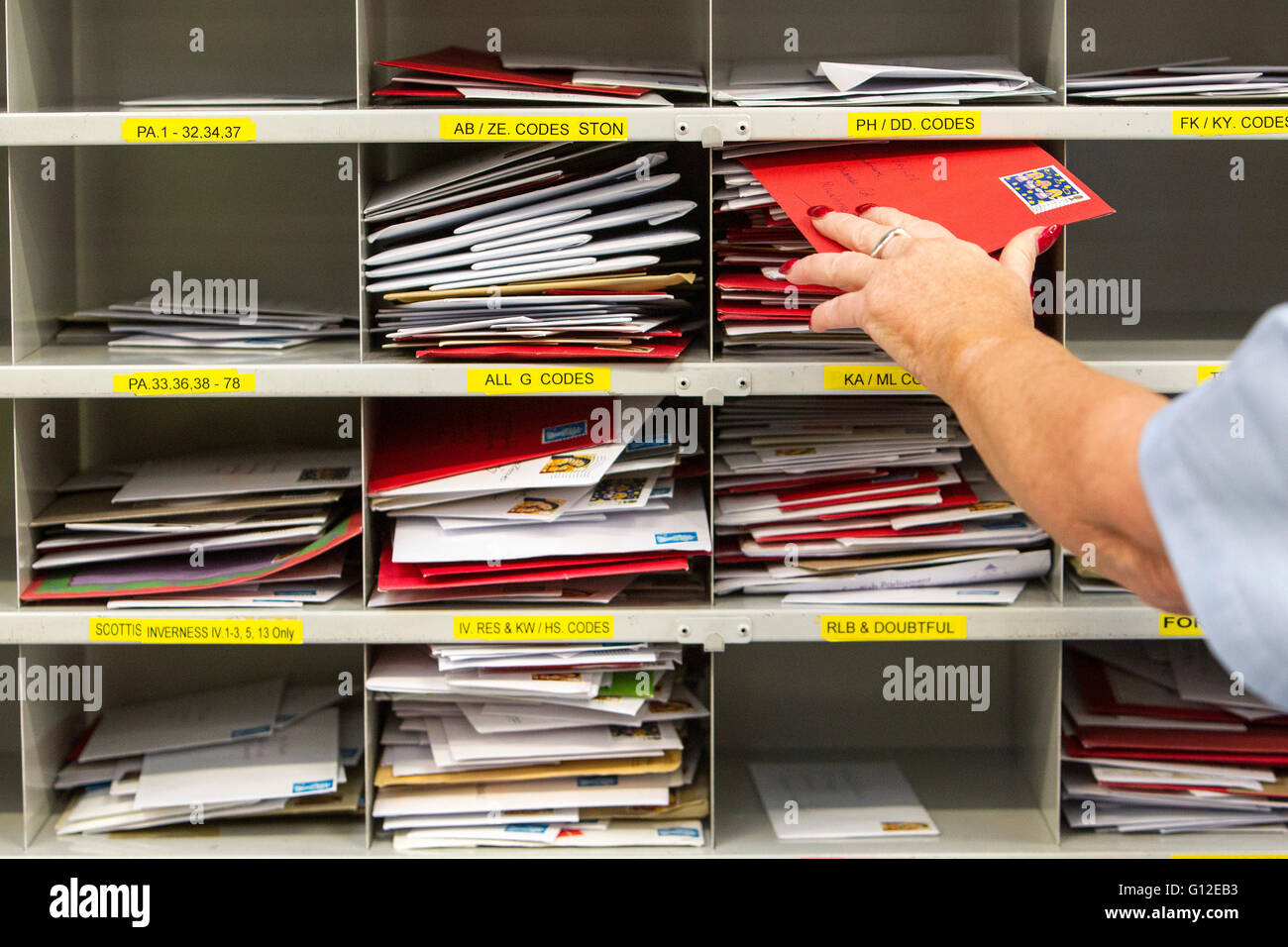 letters in sorting office Stock Photo