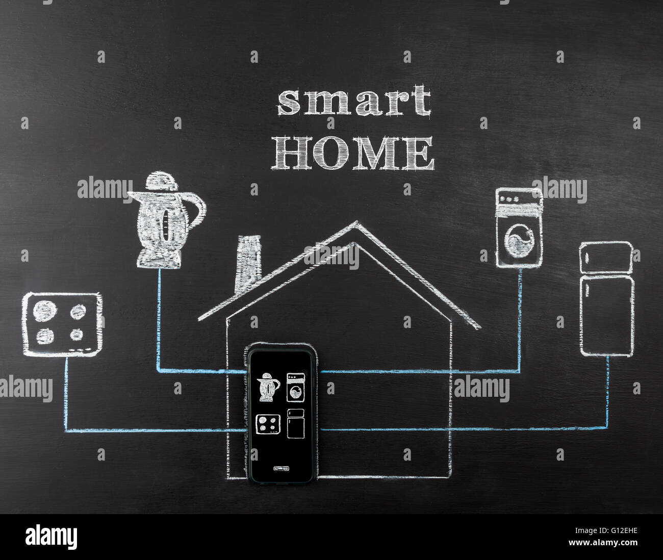Smart Home Automation Stock Photos Electrical Wiring Diagrams For Homes Concept Hand Drawing On Chalk Board Mobile Phone Controlling Appliances Horizontal
