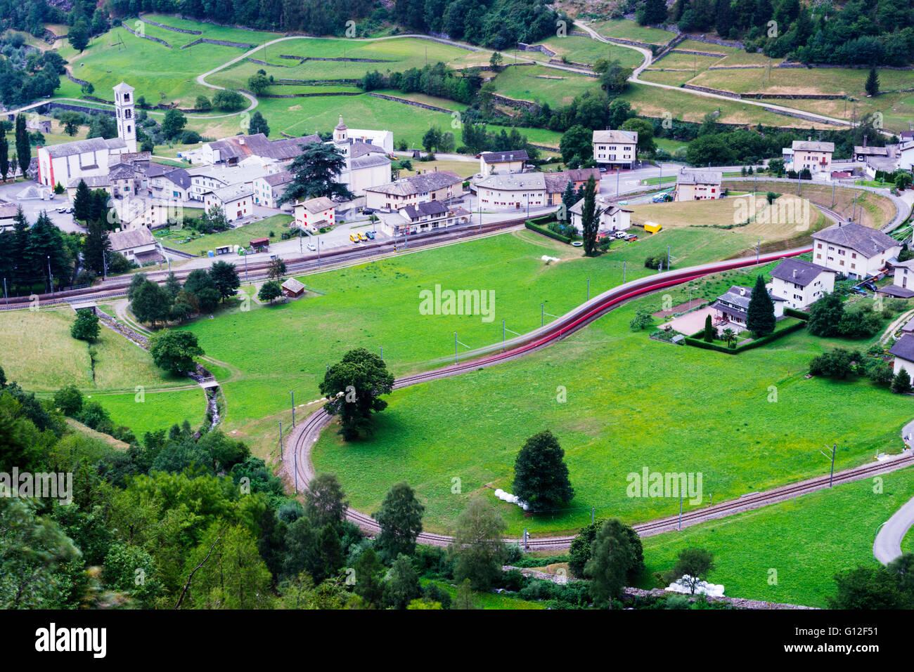 Europe, Switzerland, Graubunden, Val Poschiavo, Brusio, railway train line - Stock Image
