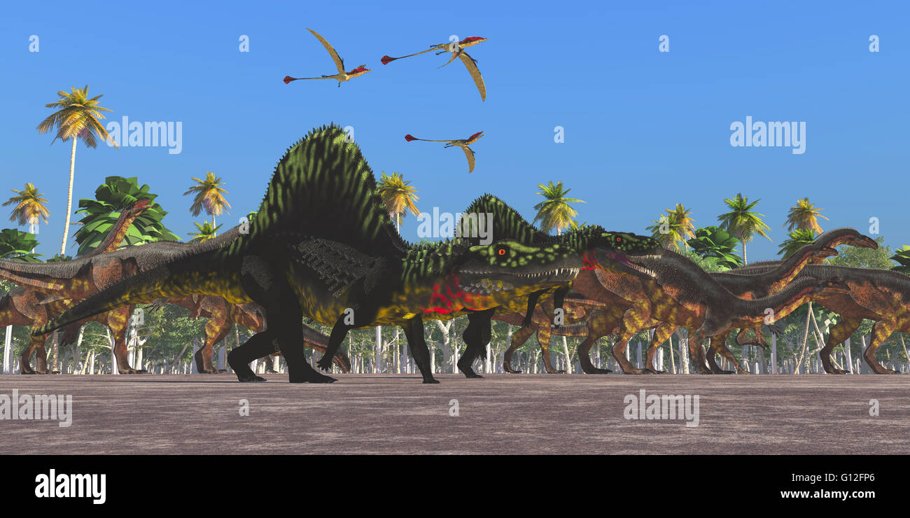 Arizonasaurus dinosaurs and Eudimorphodon flying reptiles follow along with a herd of Plateosaurus on their annual Stock Photo