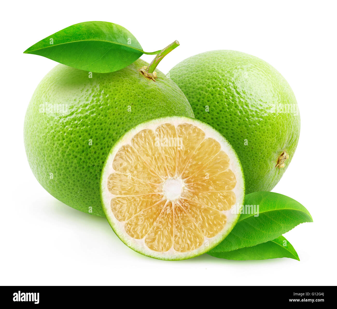 Isolated white grapefruits. Cut grapefruits isolated on white background with clipping path - Stock Image