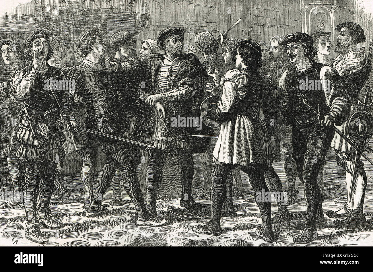 Evil May Day Riot in Cheapside 1517 - Stock Image