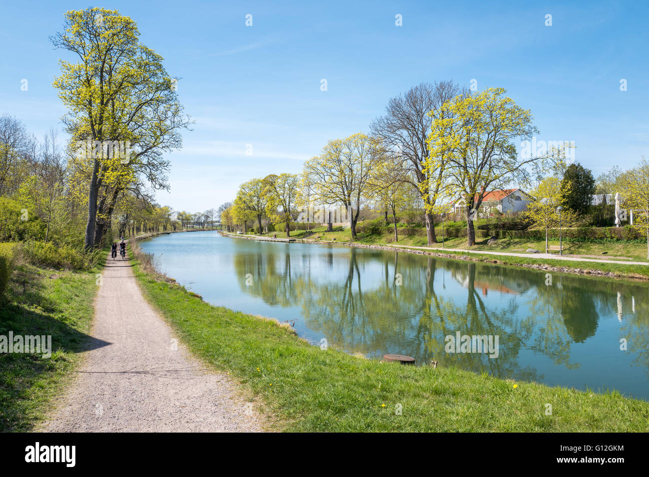 Sunny day during spring at Gota Canal in Berg outside Linkoping, Sweden. - Stock Image