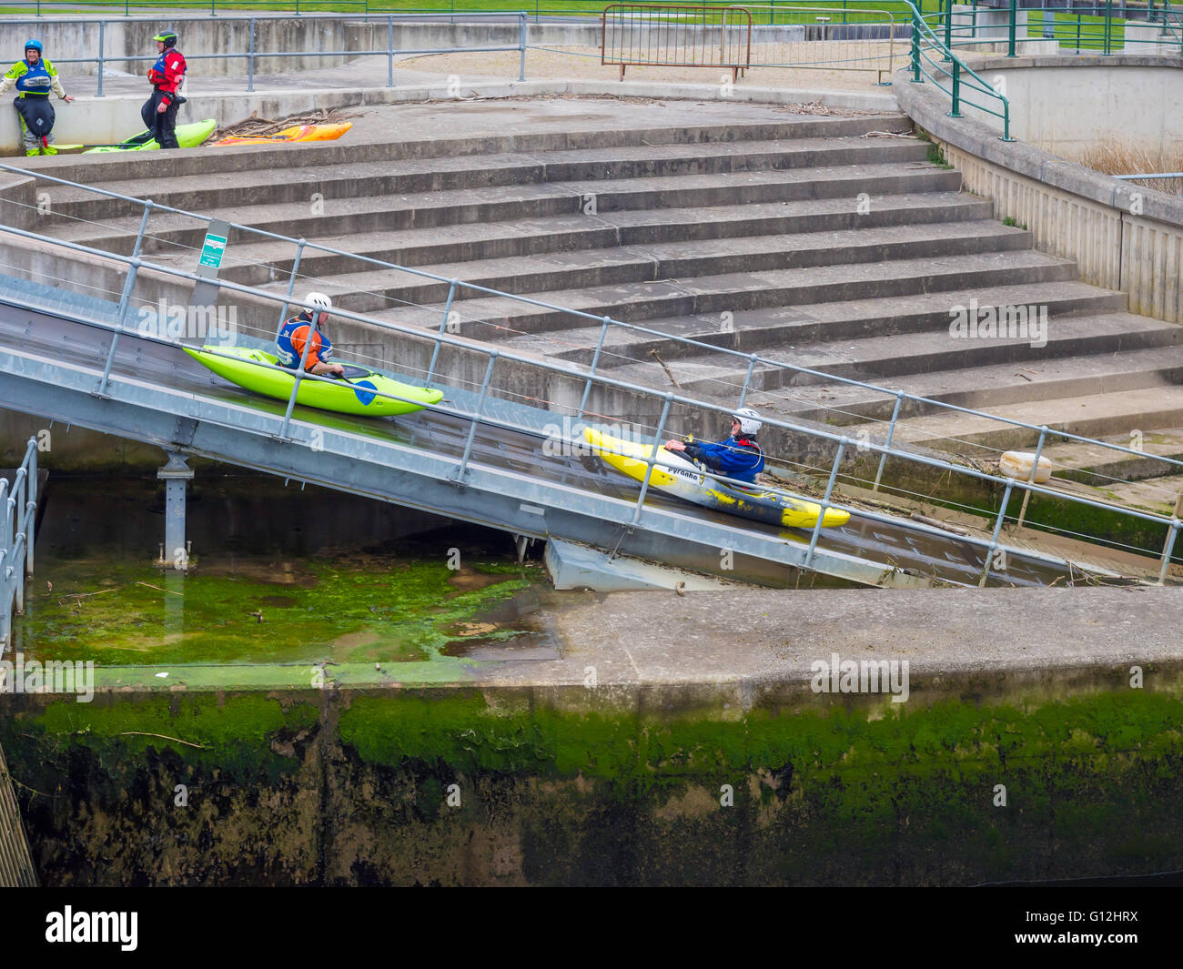 Tees Barrage International White Water Centre Lazyboy conveyor belt system to lift kayaks up to the start of the - Stock Image