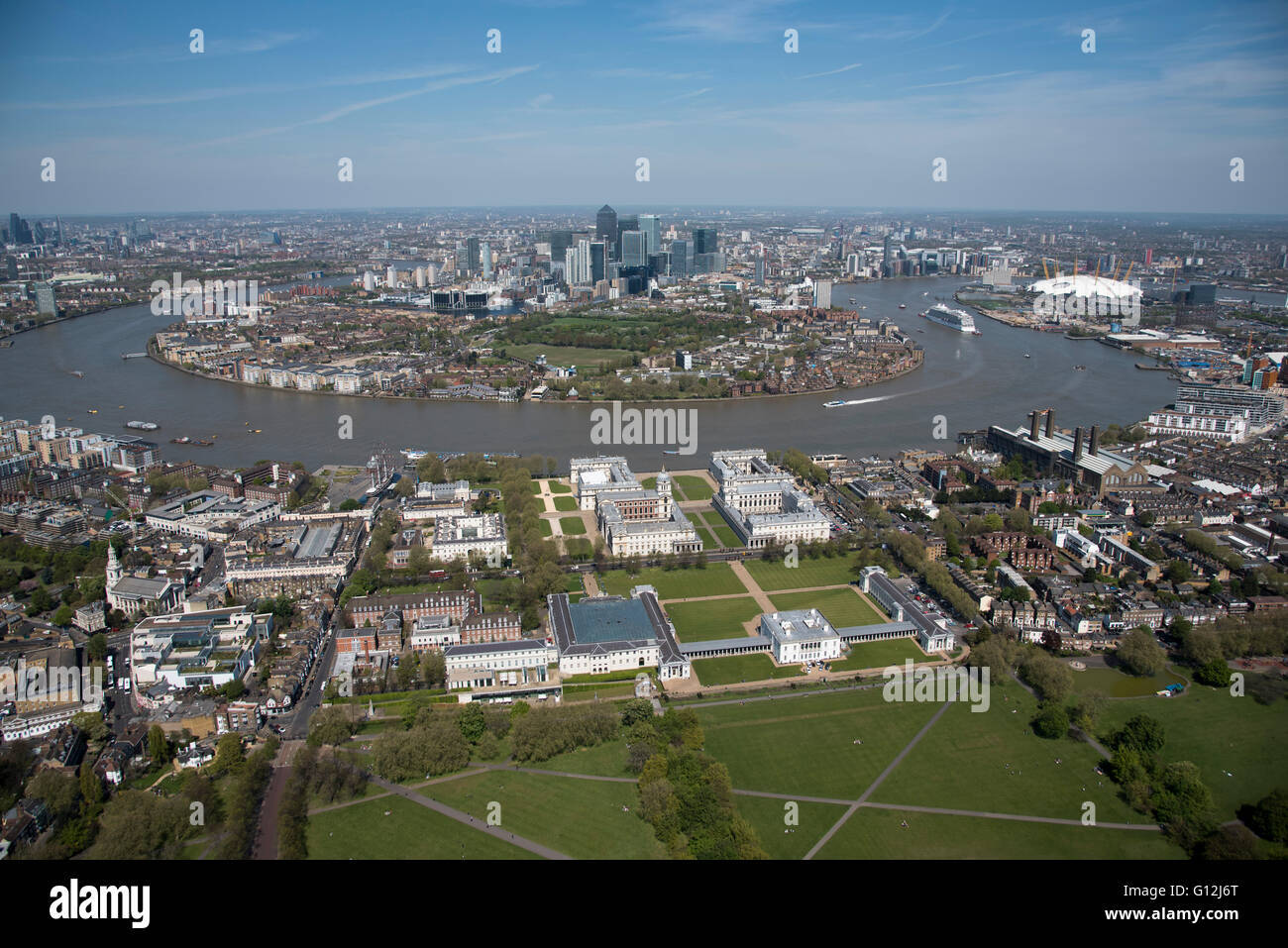 Pic Shows Greenwich and the Isle of Dogs - Stock Image