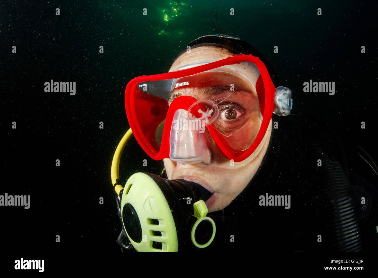 Diver and Freshwater Jellyfish, Craspedacusta sowerbii, Lake Lugano, Switzerland - Stock Image