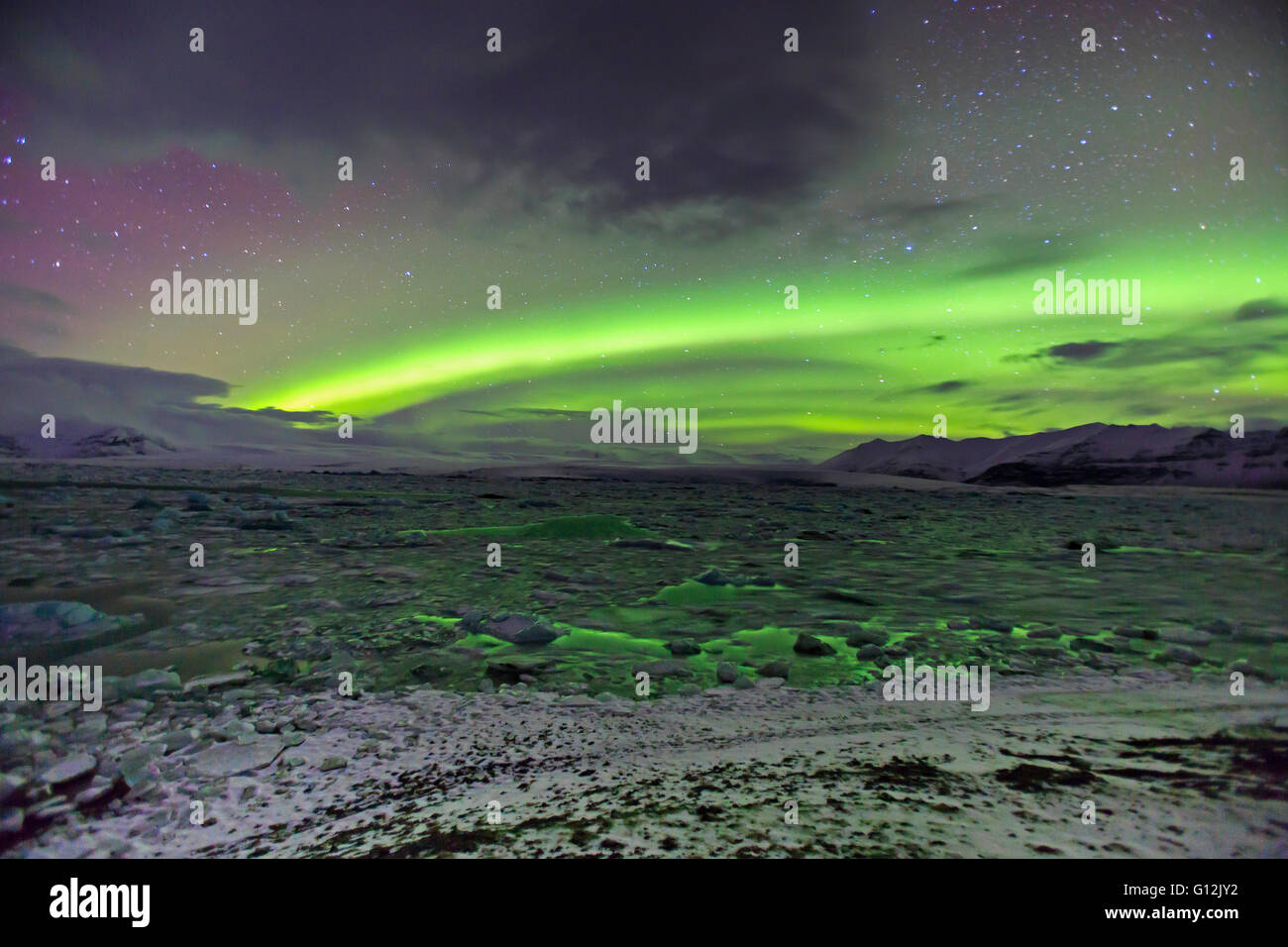 Northern Lights over Joekulsarlon Glacial River Lagoon, Aurora Borealis, Vatnajoekull National Park, Iceland - Stock Image