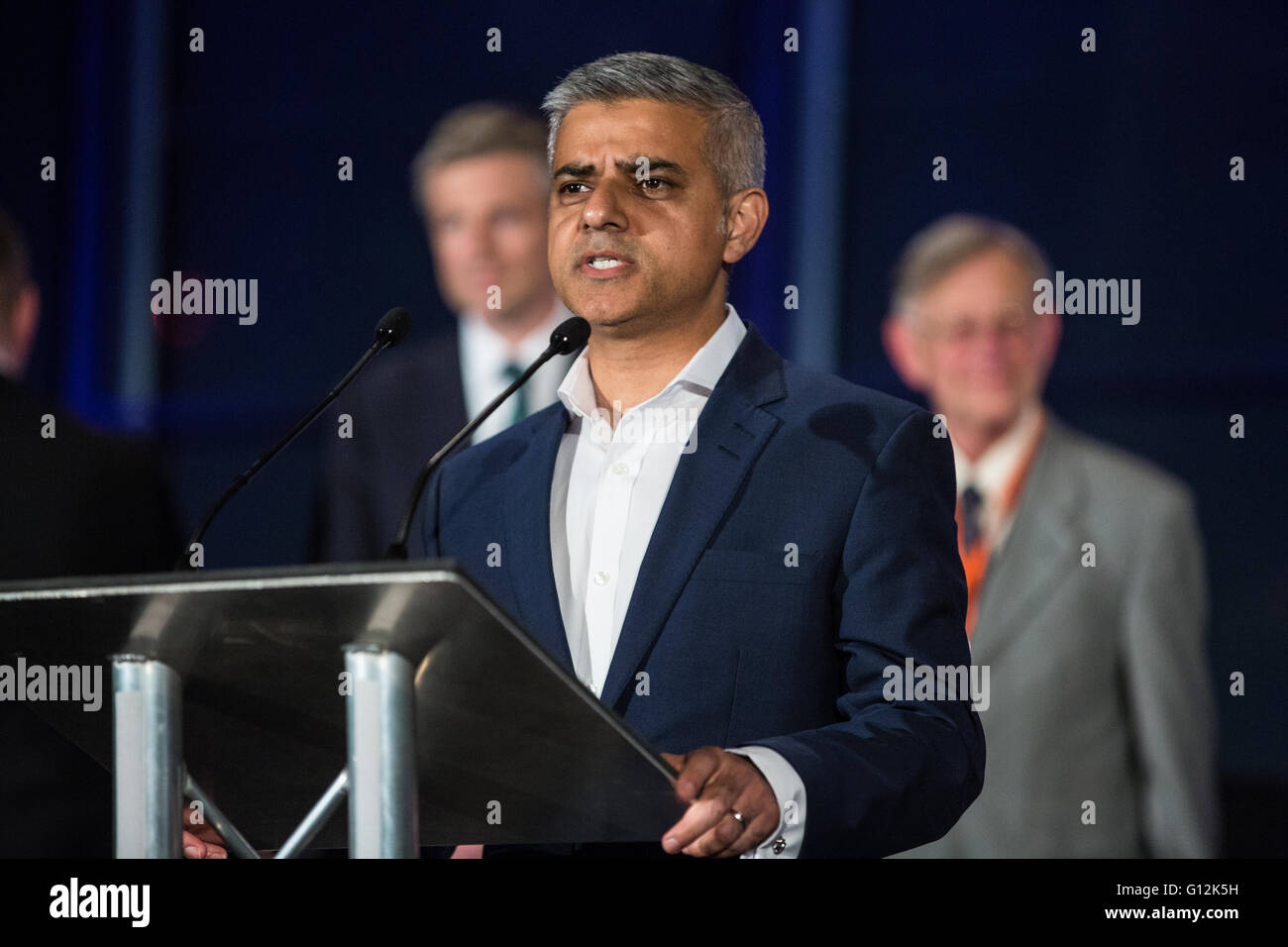 London, UK. 7th May, 2016. Sadiq Khan makes his winner's speech following the London Mayoral election declaration - Stock Image