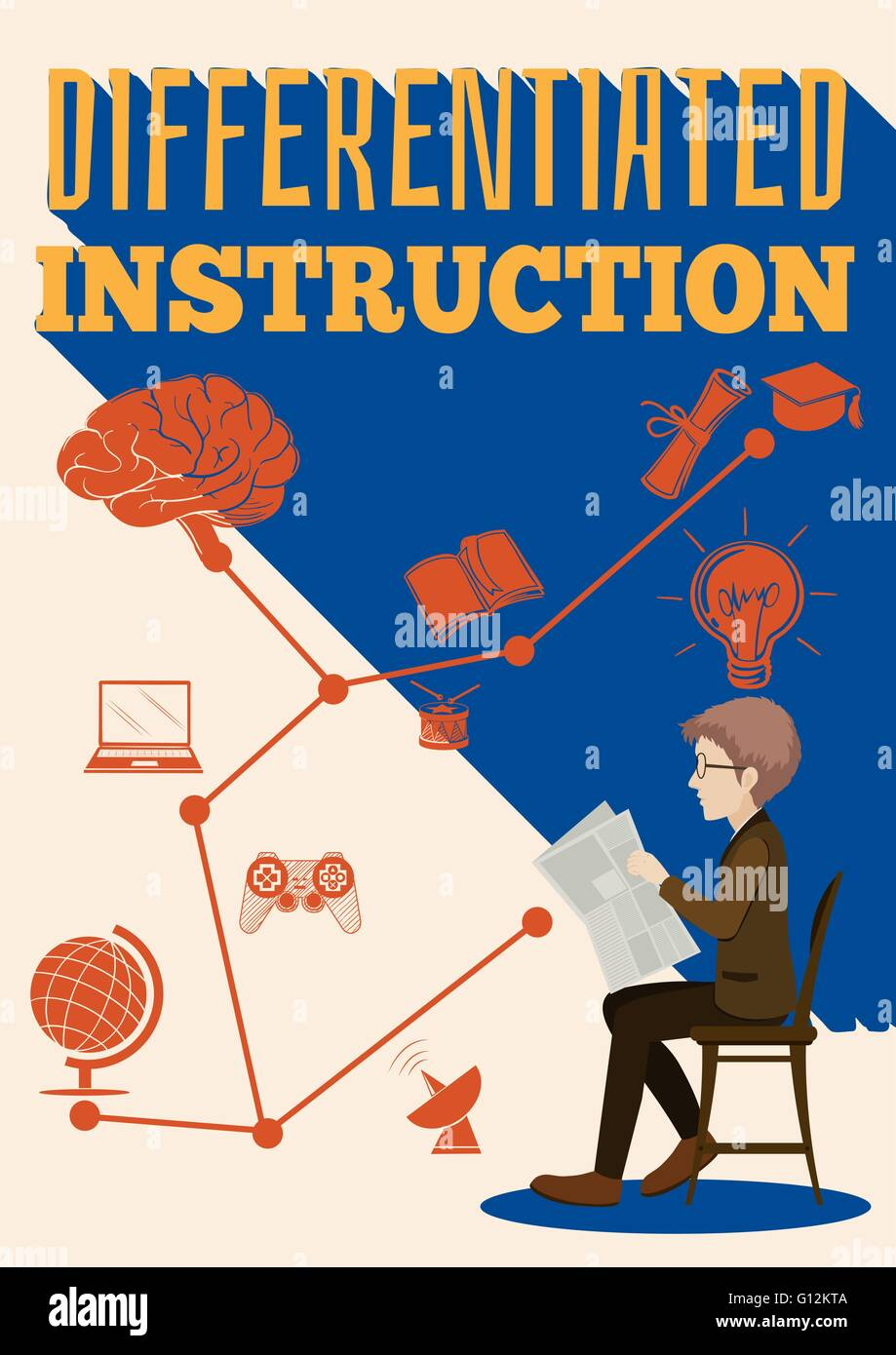 Differentiated instruction sign with a man illustration - Stock Image