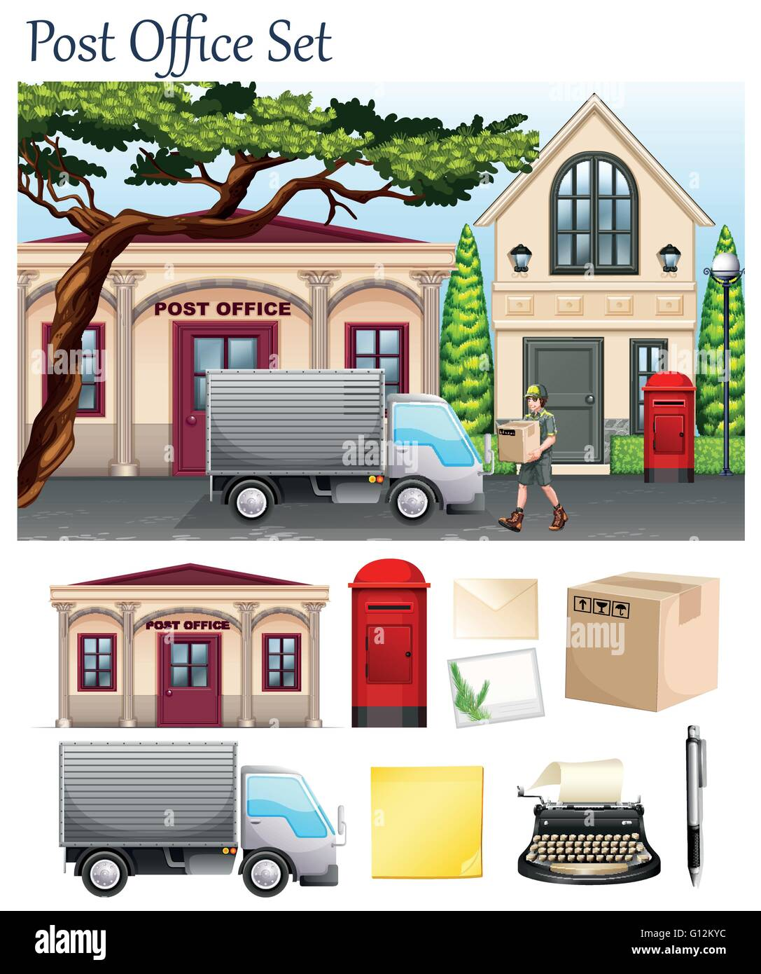 Post office and postal objects illustration - Stock Vector