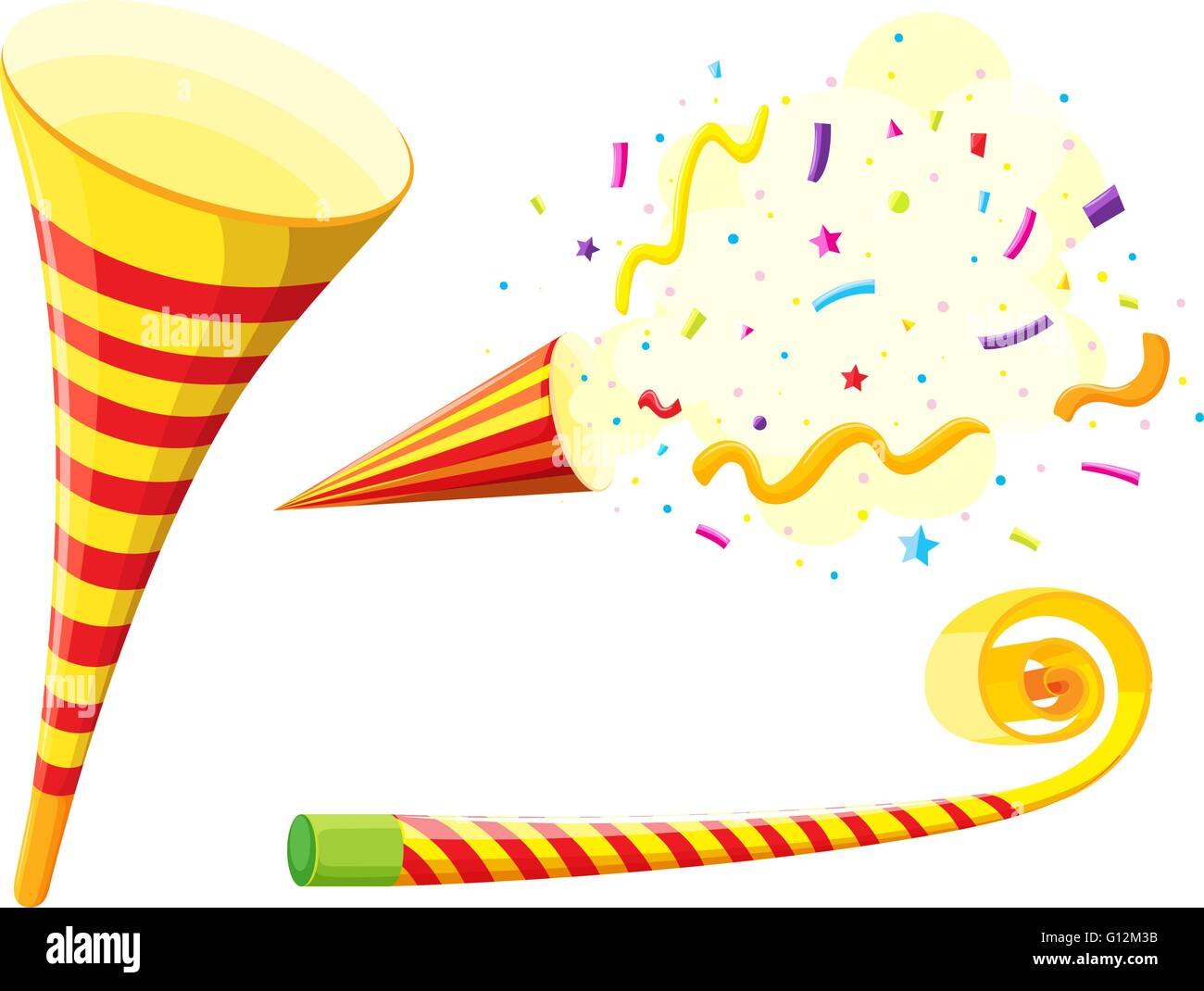 Party horn and blowing instrument illustration - Stock Vector