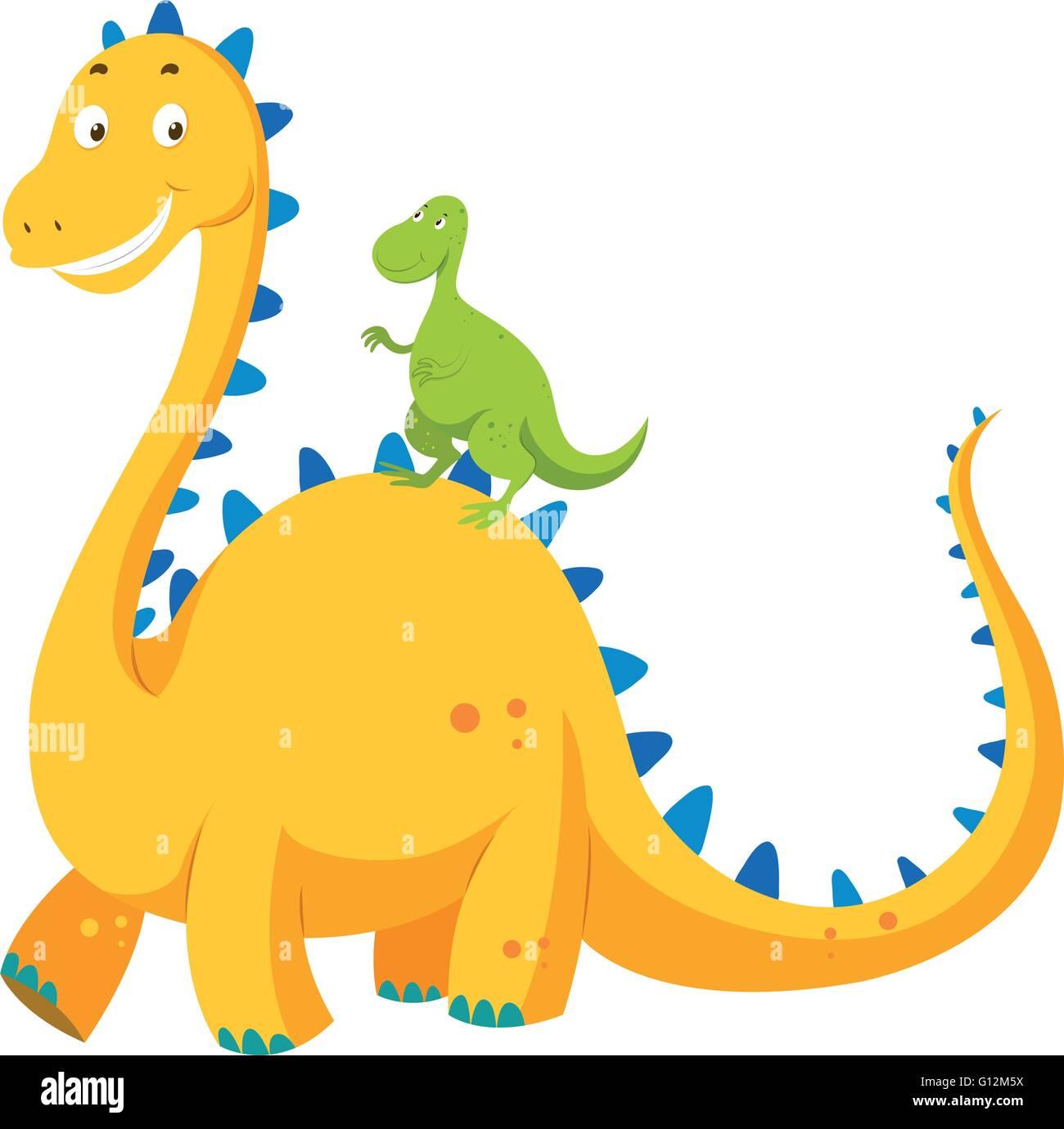 Big dinosaur and small dinosaur illustration Stock Vector
