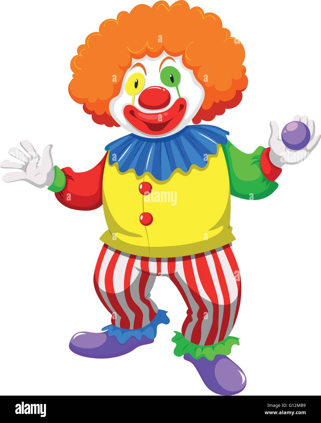 Clown holding a ball illustration - Stock Vector