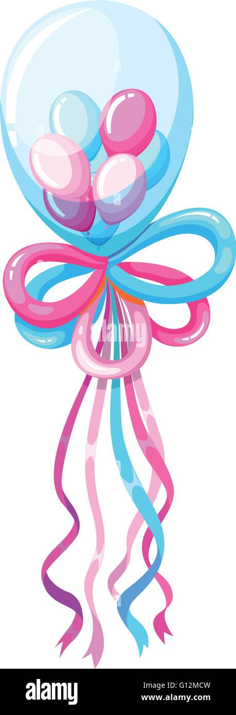 Decorating balloons in blue and pink illustration - Stock Vector