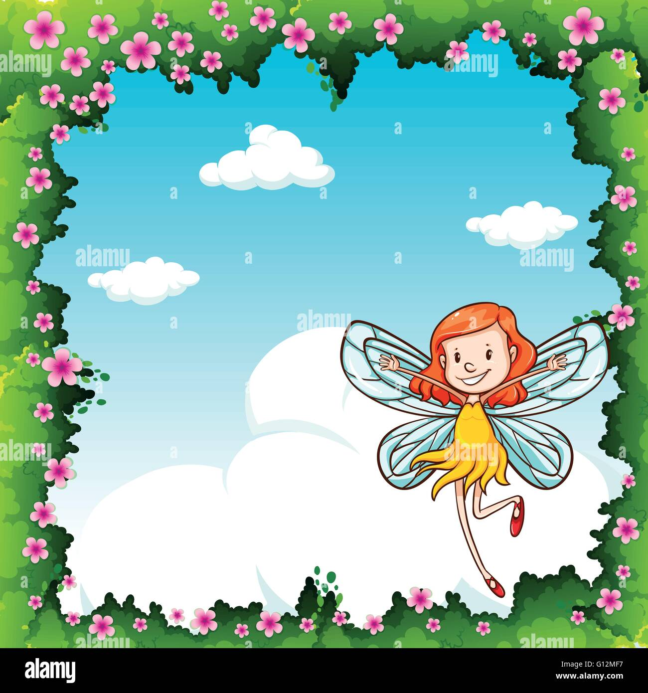 Border design with fairy flying in the sky illustration - Stock Image